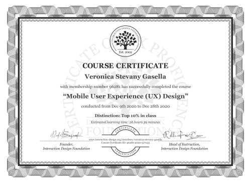 Veronica Stevany Gasella's Course Certificate: Mobile User Experience (UX) Design