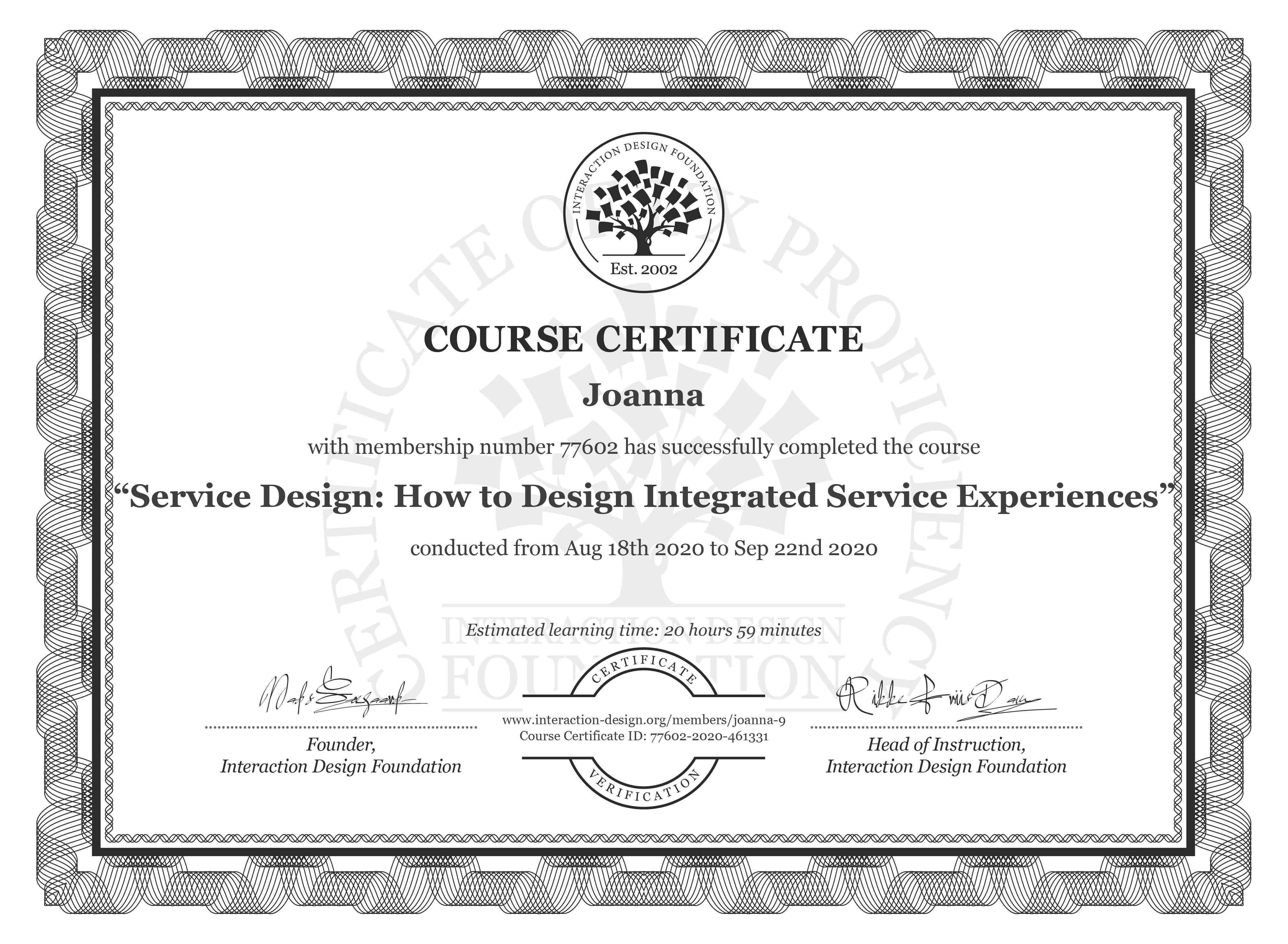 Joanna's Course Certificate: Service Design: Delivering Integrated Service Experiences