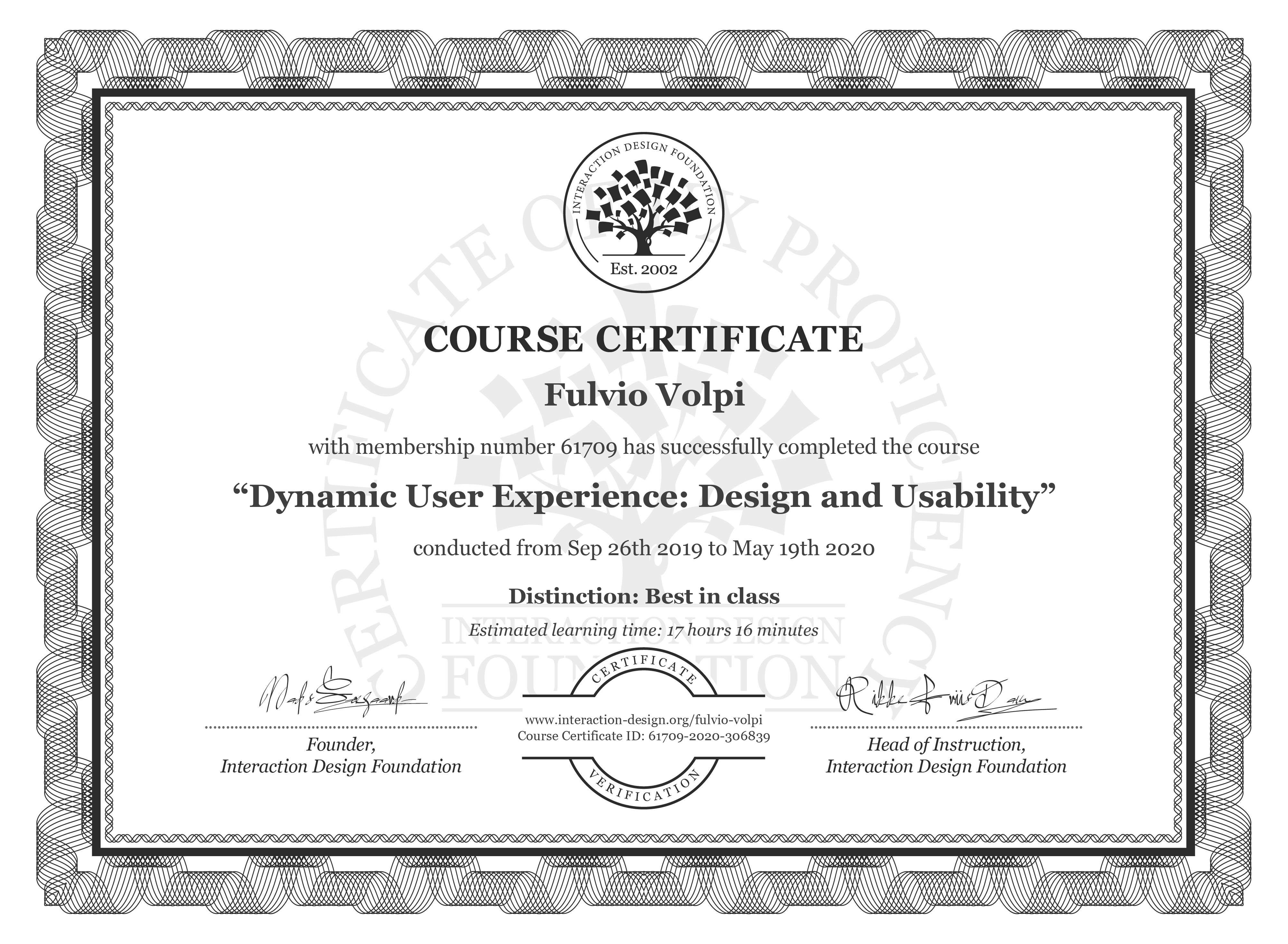 Fulvio Volpi's Course Certificate: Dynamic User Experience: Design and Usability