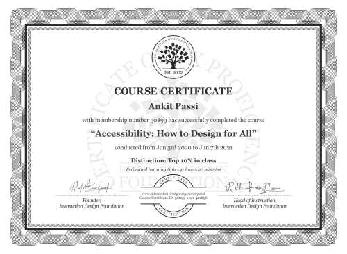 Ankit Passi's Course Certificate: Accessibility: How to Design for All
