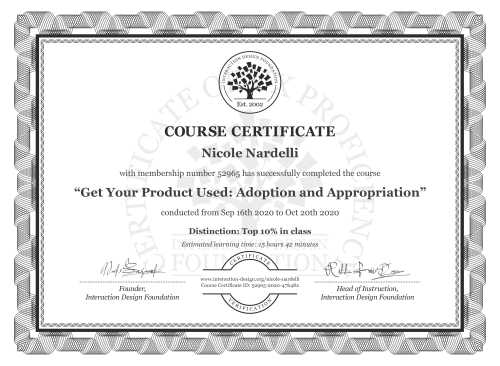 Nicole Nardelli's Course Certificate: Get Your Product Used: Adoption and Appropriation