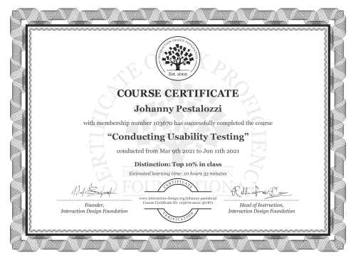 Johanny Pestalozzi's Course Certificate: Conducting Usability Testing