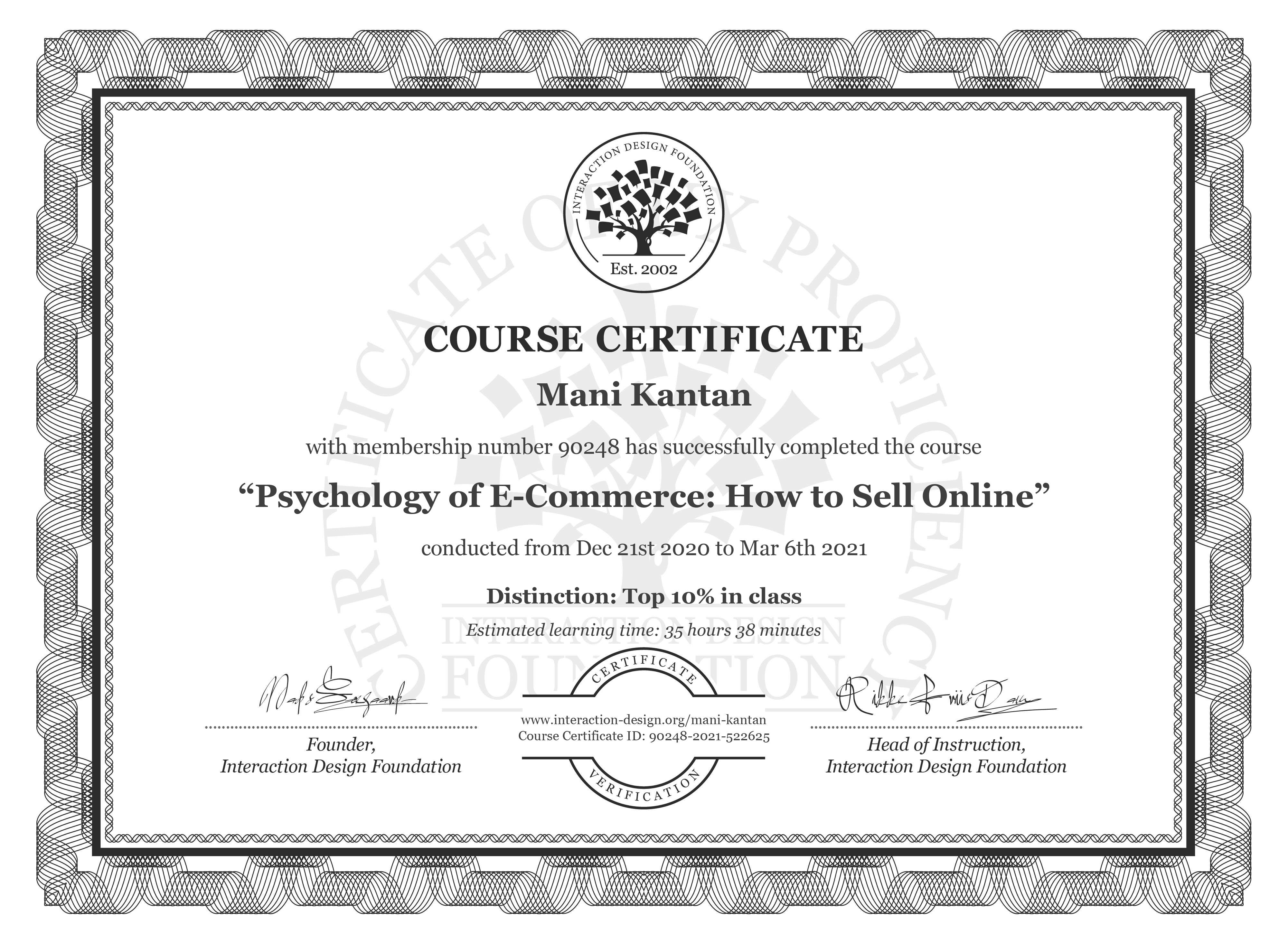 Mani Kantan's Course Certificate: Psychology of E-Commerce: How to Sell Online