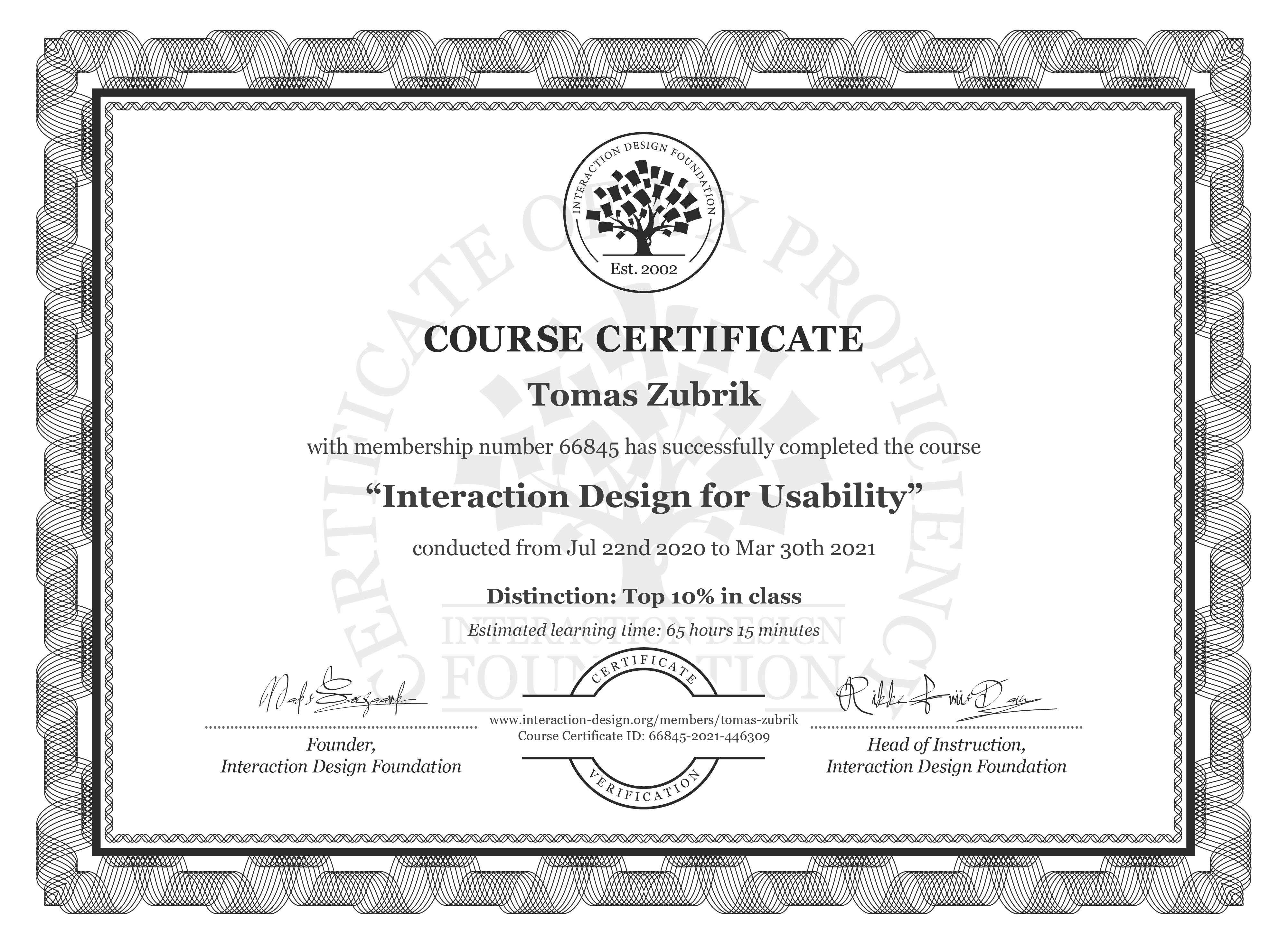 Tomáš Zúbrik's Course Certificate: Interaction Design for Usability