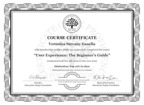 Veronica Stevany Gasella's Course Certificate: Become a UX Designer from Scratch