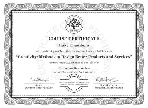Luke Chambers's Course Certificate: Creativity: Methods to Design Better Products and Services