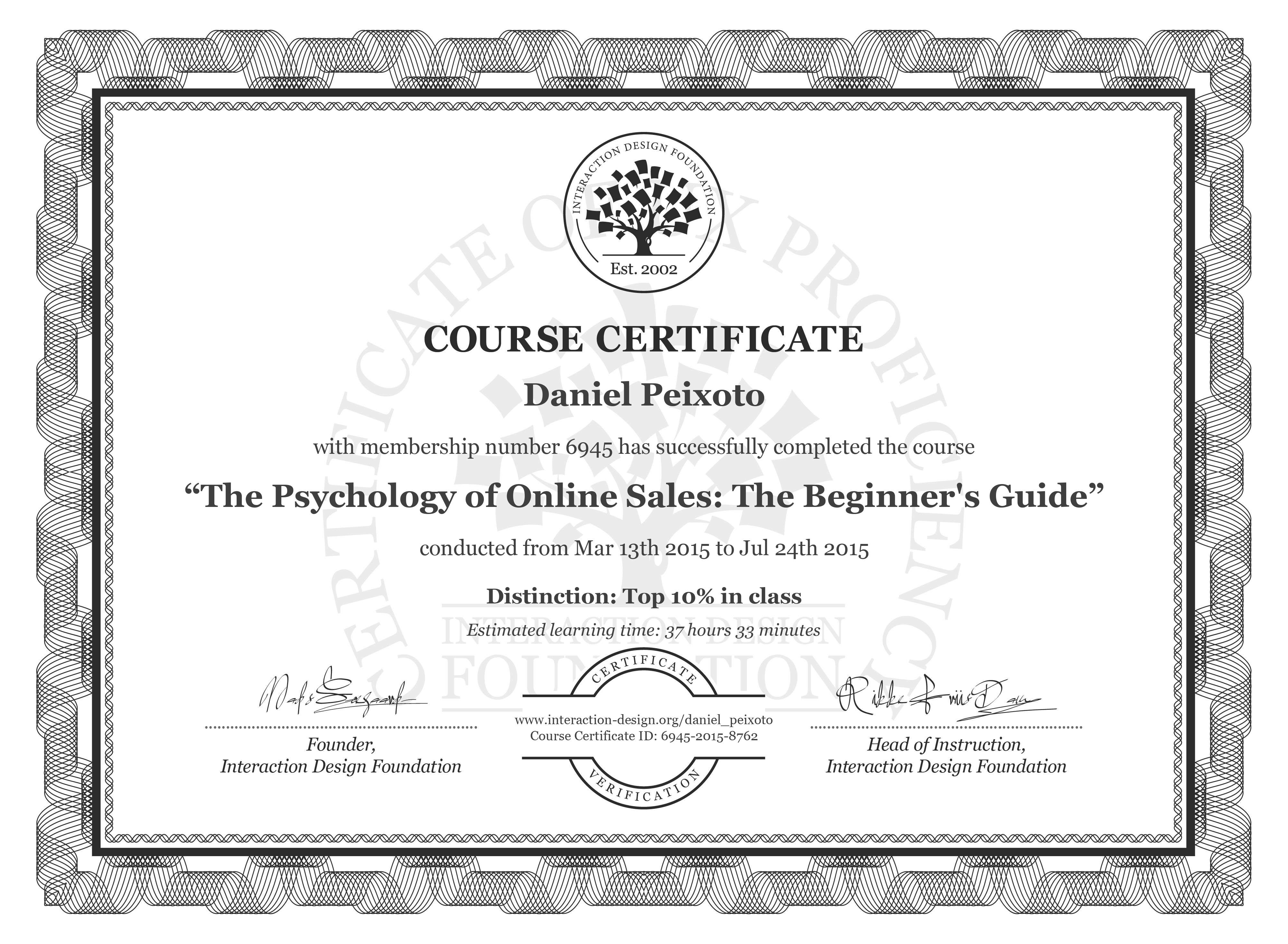 Daniel Peixoto: Course Certificate - The Psychology of Online Sales: The Beginner's Guide