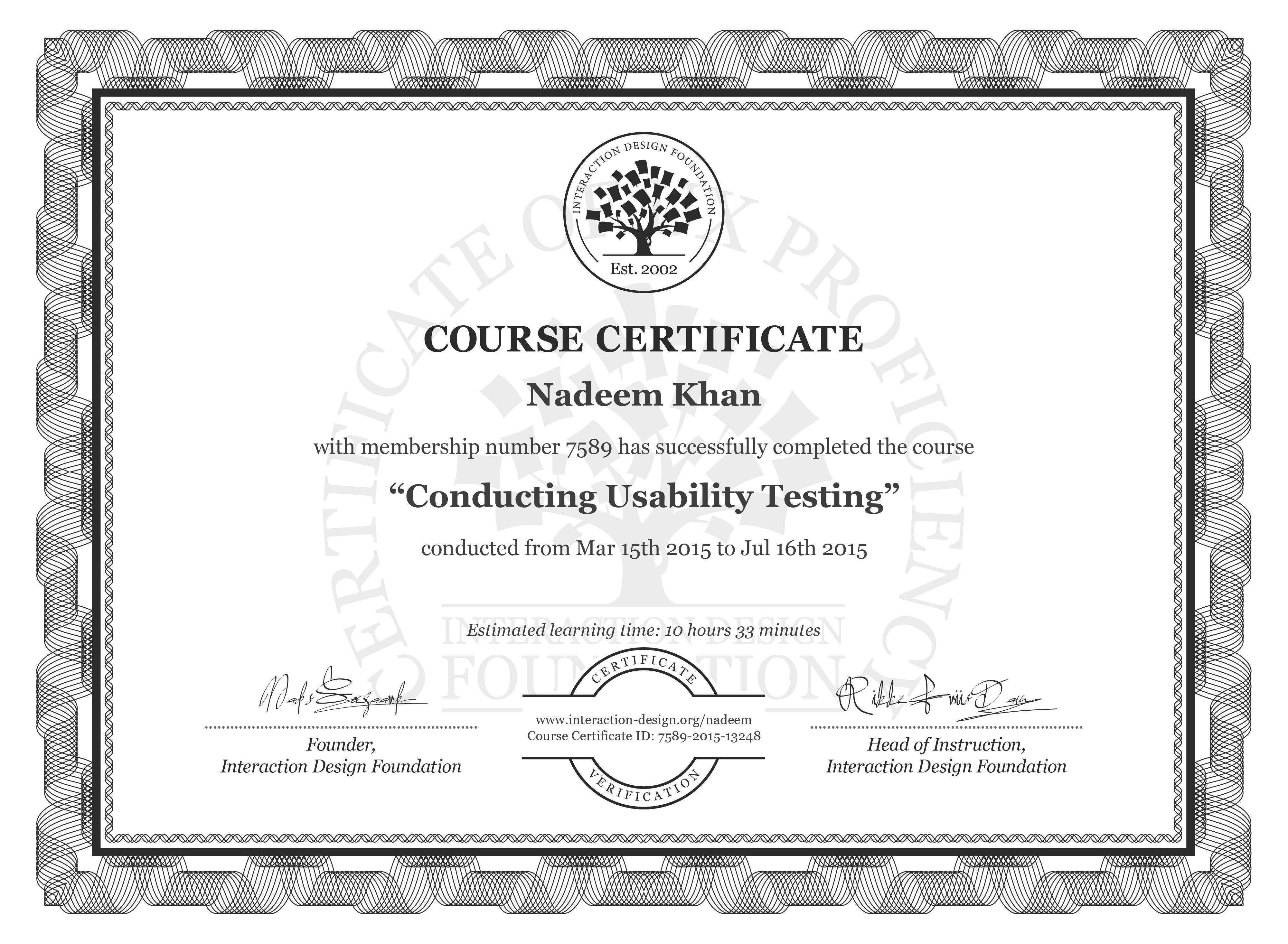 Nadeem Khan: Course Certificate - Conducting Usability Testing