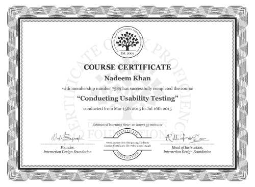 Nadeem Khan's Course Certificate: Conducting Usability Testing