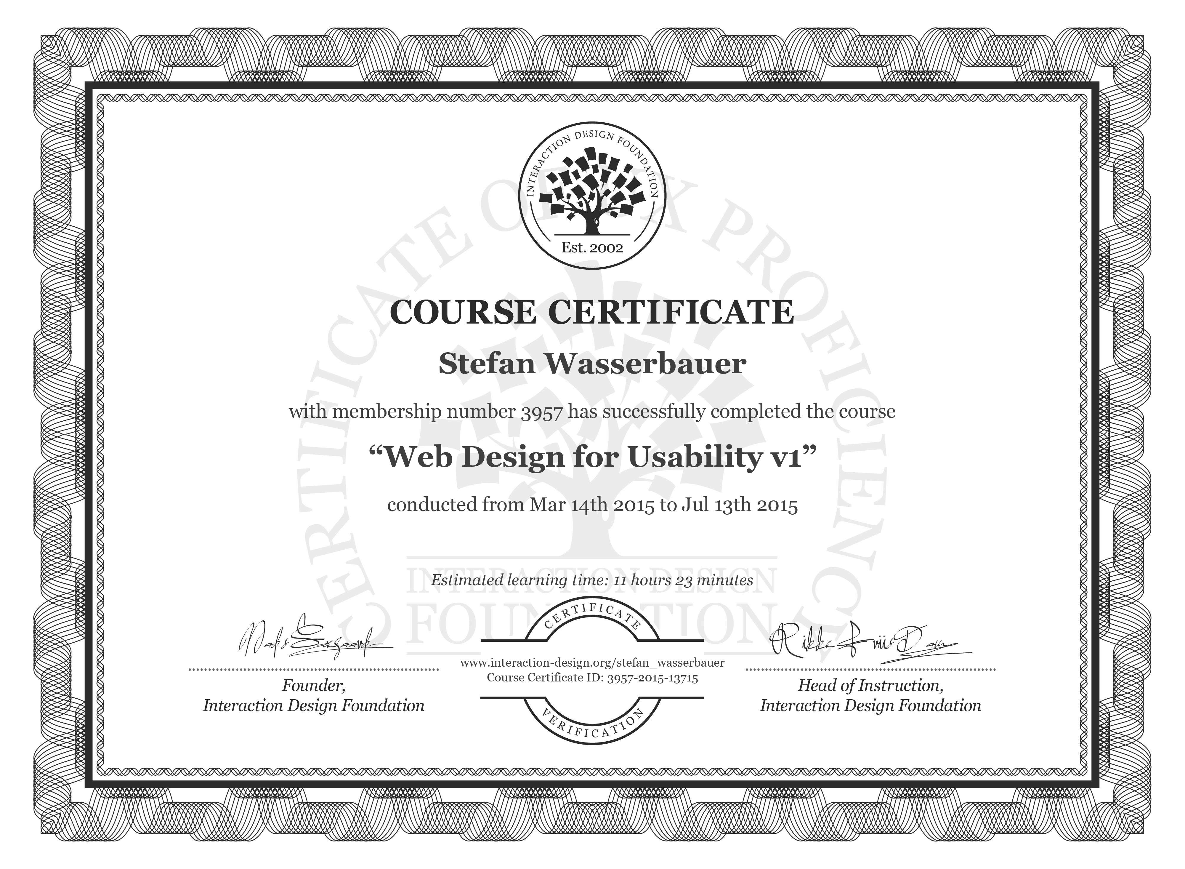 Stefan Wasserbauer's Course Certificate: Web Design for Usability