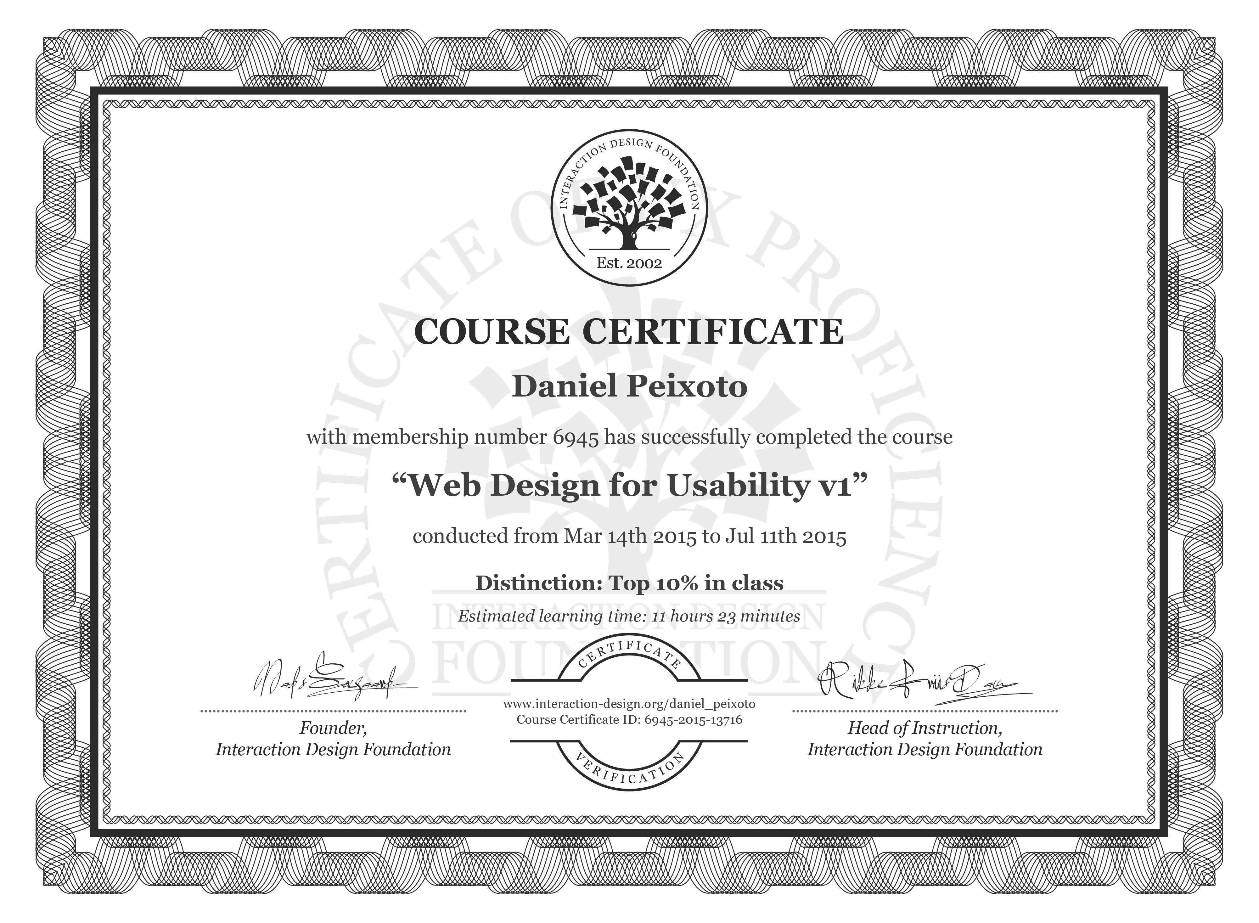 Daniel Peixoto's Course Certificate: Web Design for Usability