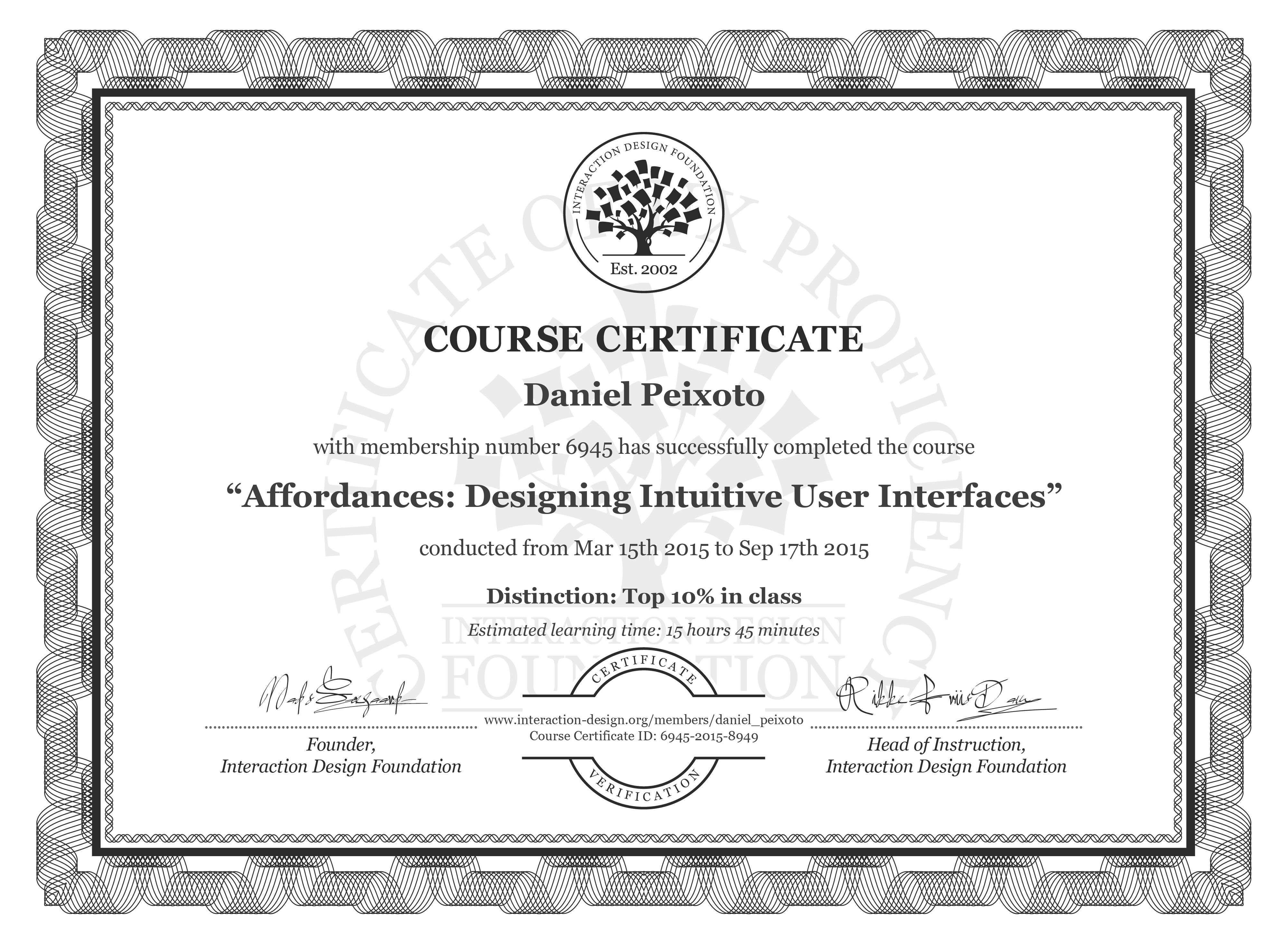 Daniel Peixoto's Course Certificate: Affordances: Designing Intuitive User Interfaces