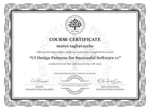 marco tagliavacche's Course Certificate: UI Design Patterns for Successful Software