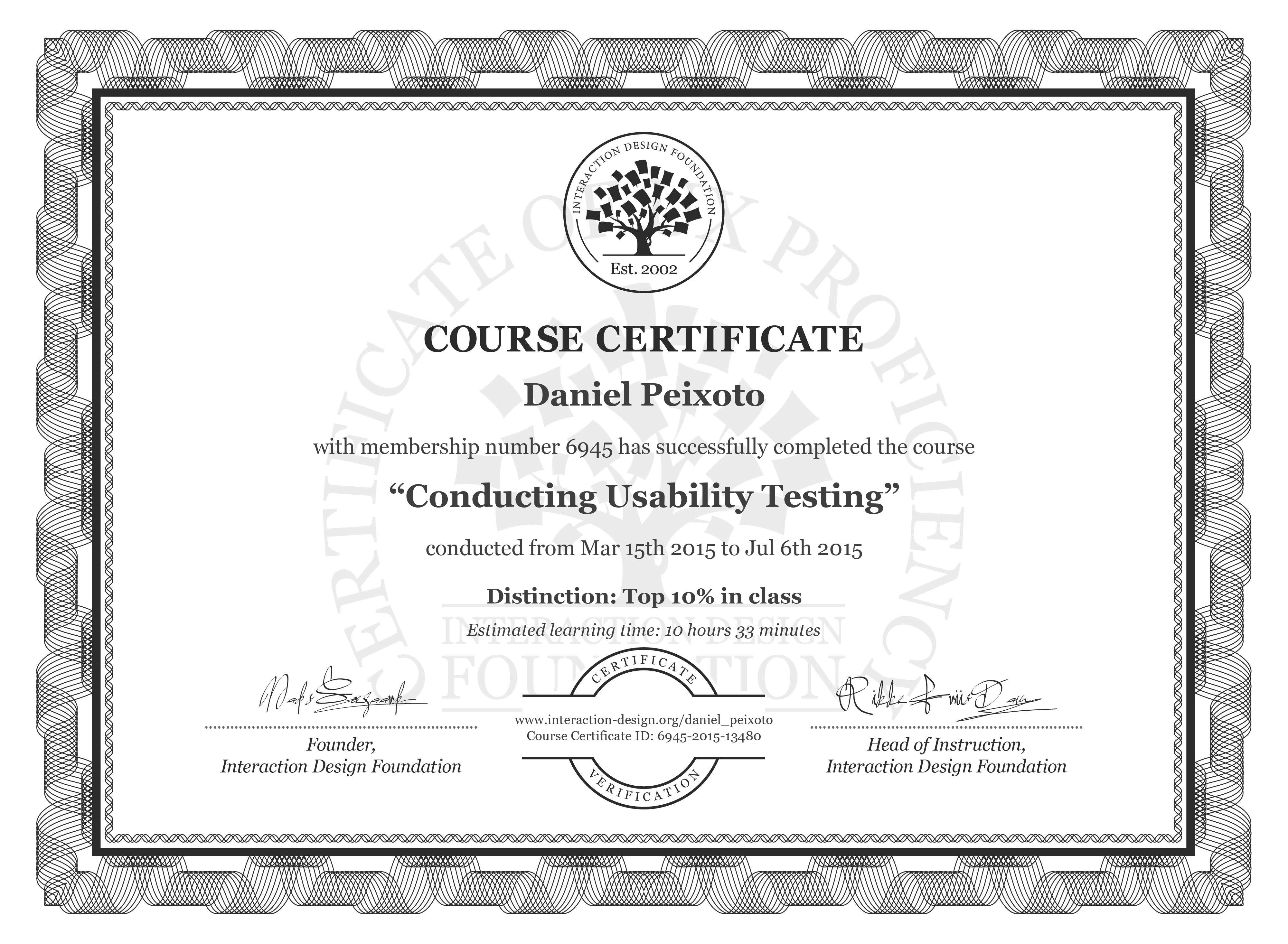 Daniel Peixoto: Course Certificate - Conducting Usability Testing