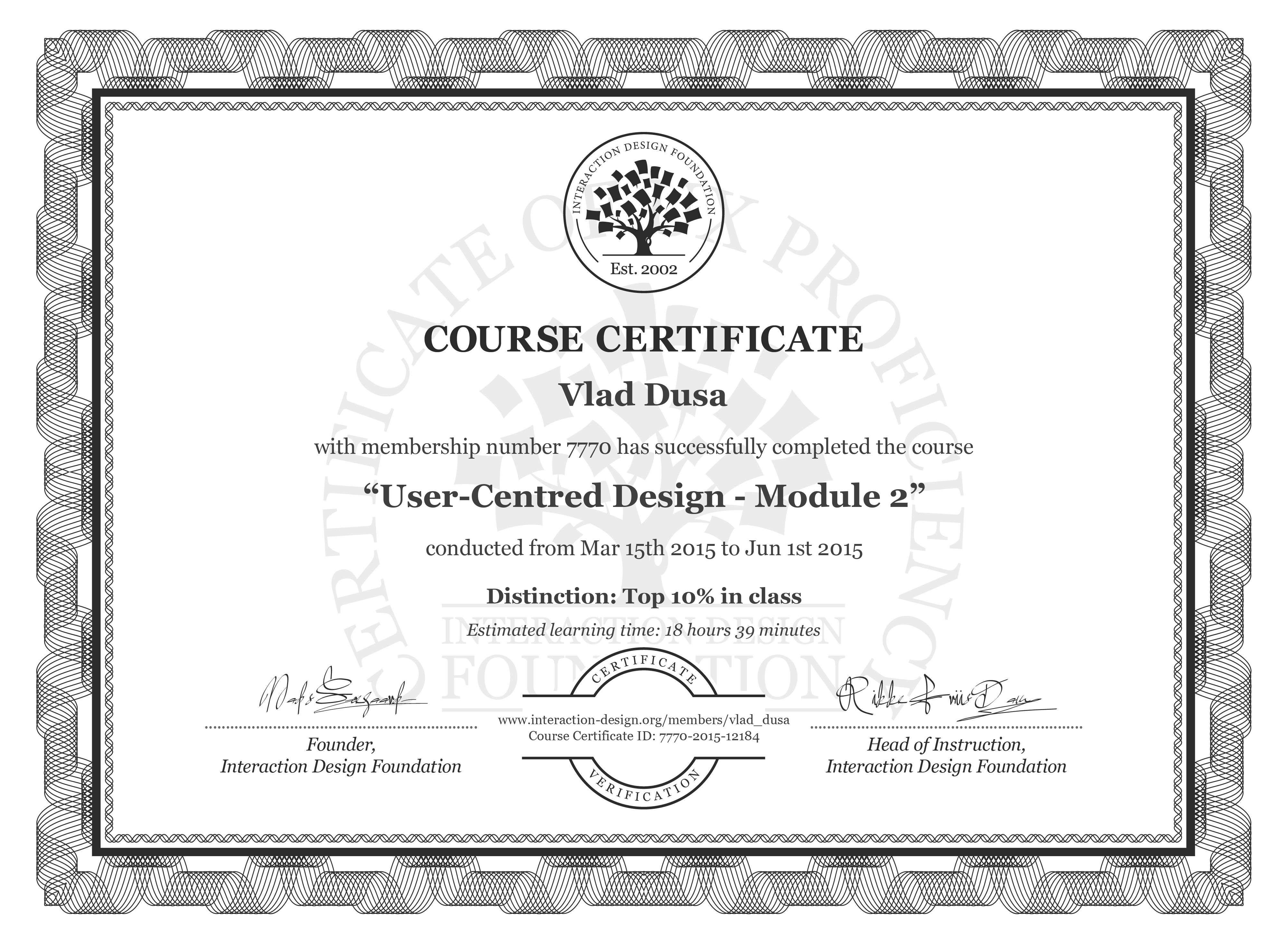 Vlad Dusa: Course Certificate - User-Centred Design - Module 2