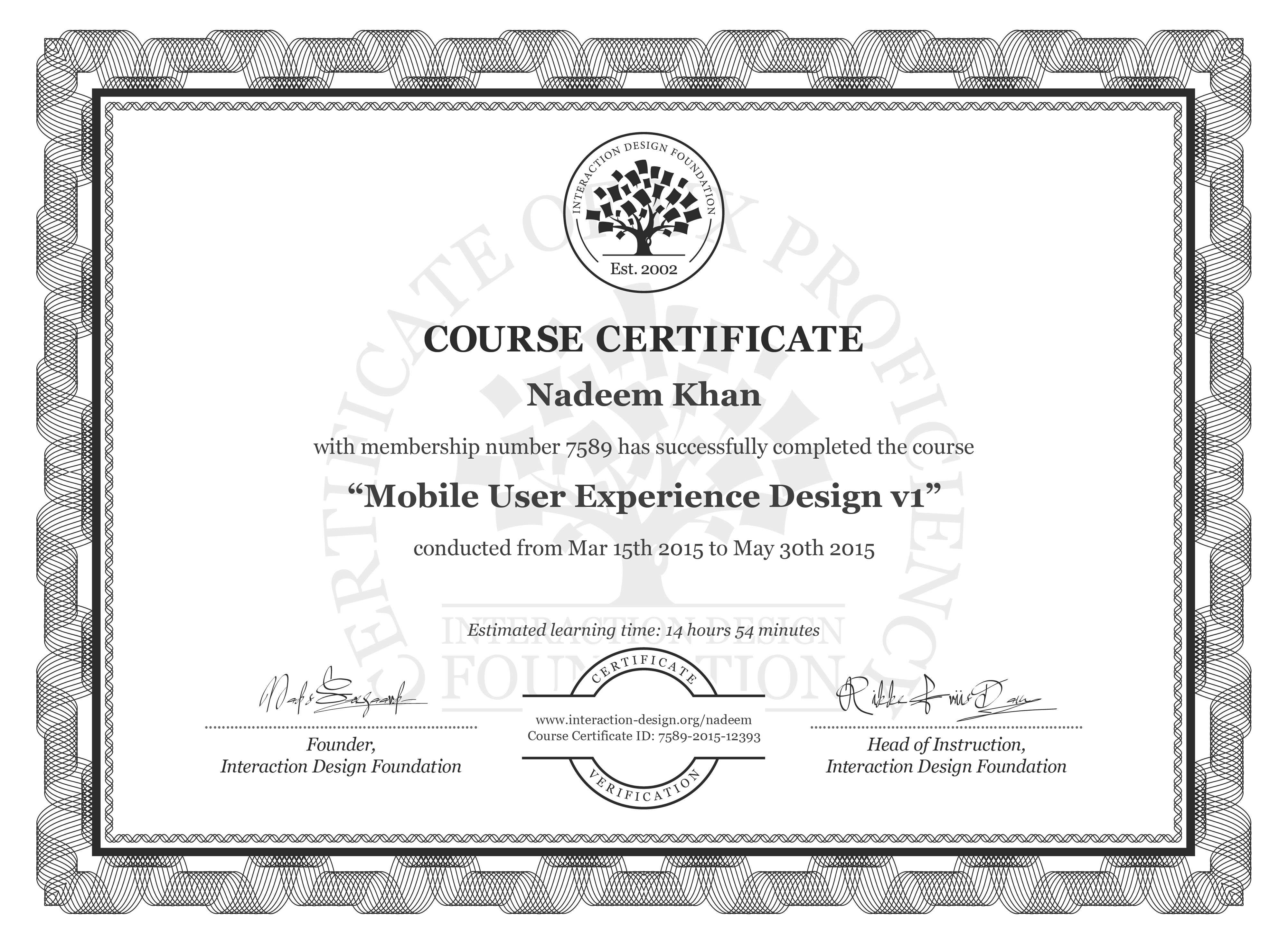Nadeem Khan: Course Certificate - Mobile User Experience Design