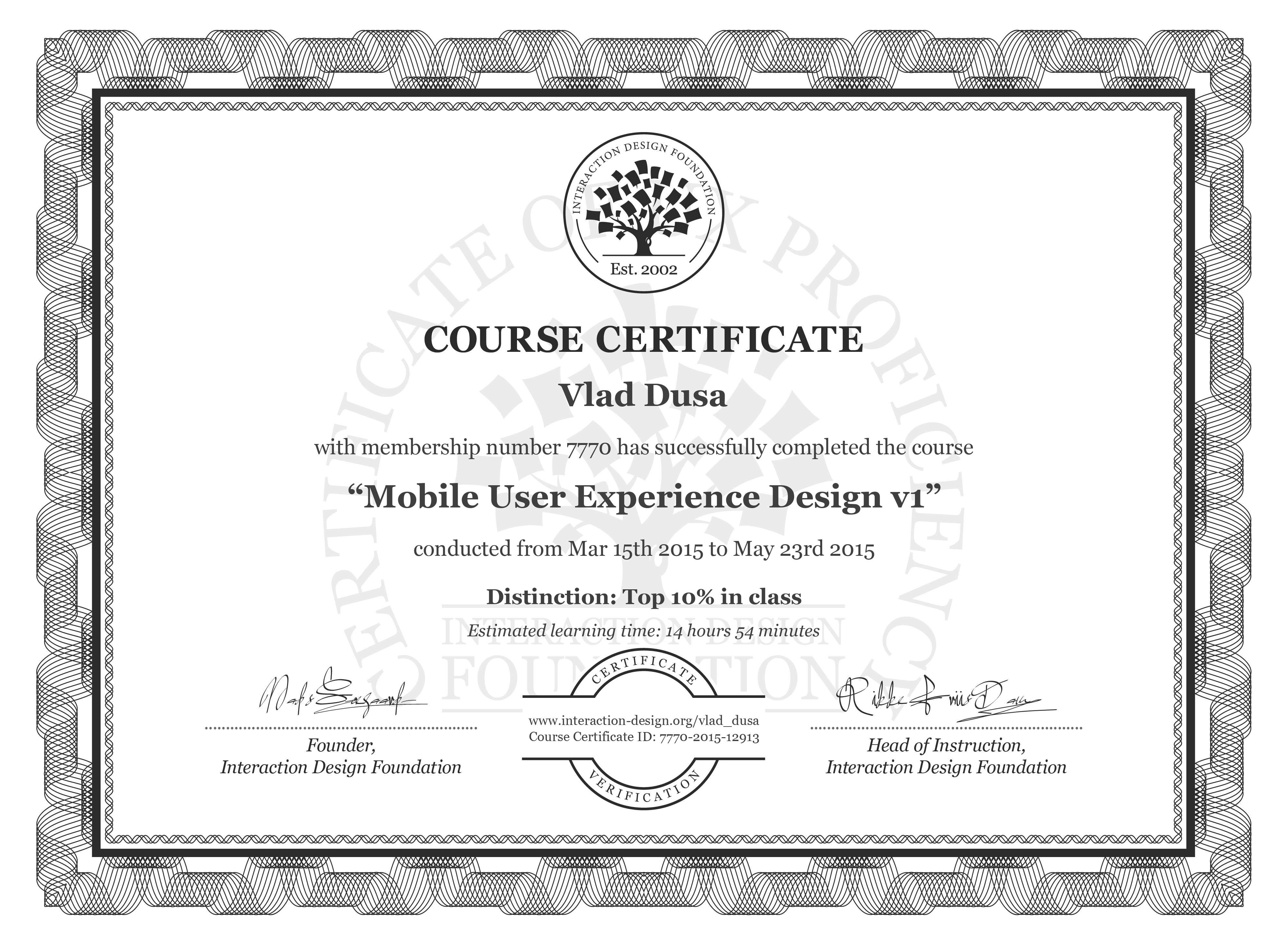 Vlad Dusa's Course Certificate: Mobile User Experience Design