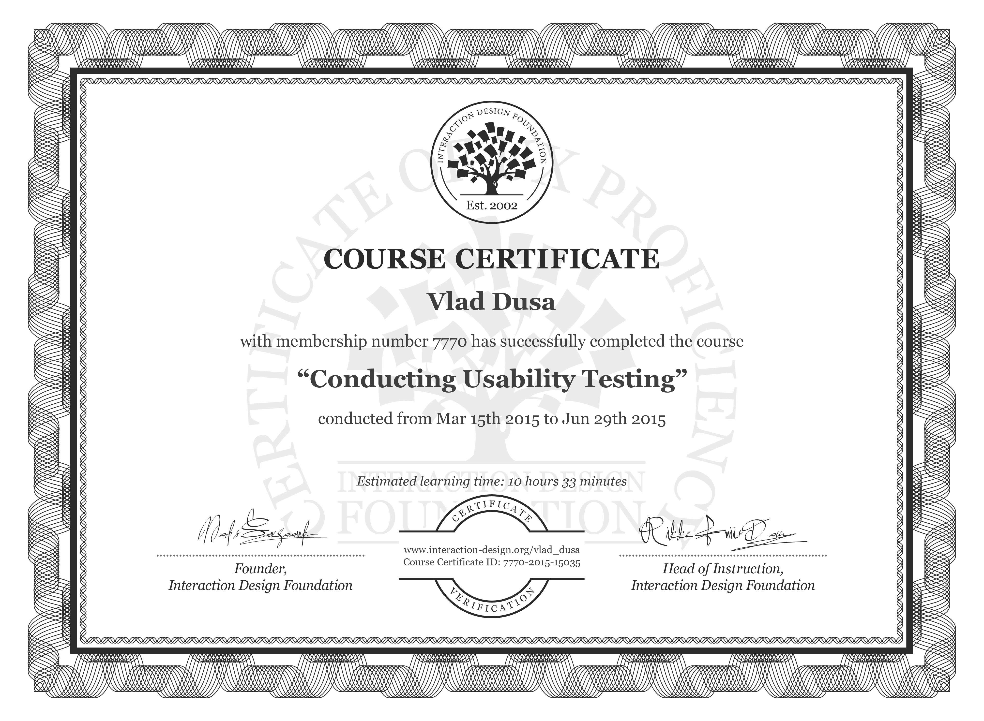 Vlad Dusa: Course Certificate - Conducting Usability Testing