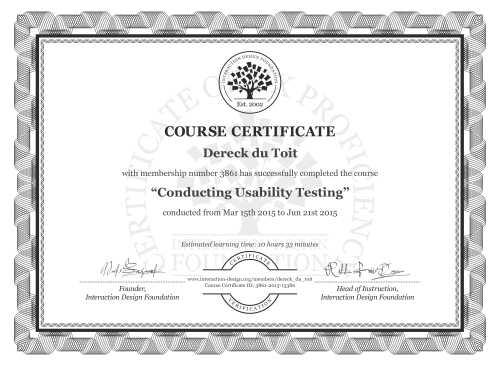 Dereck du Toit's Course Certificate: Conducting Usability Testing