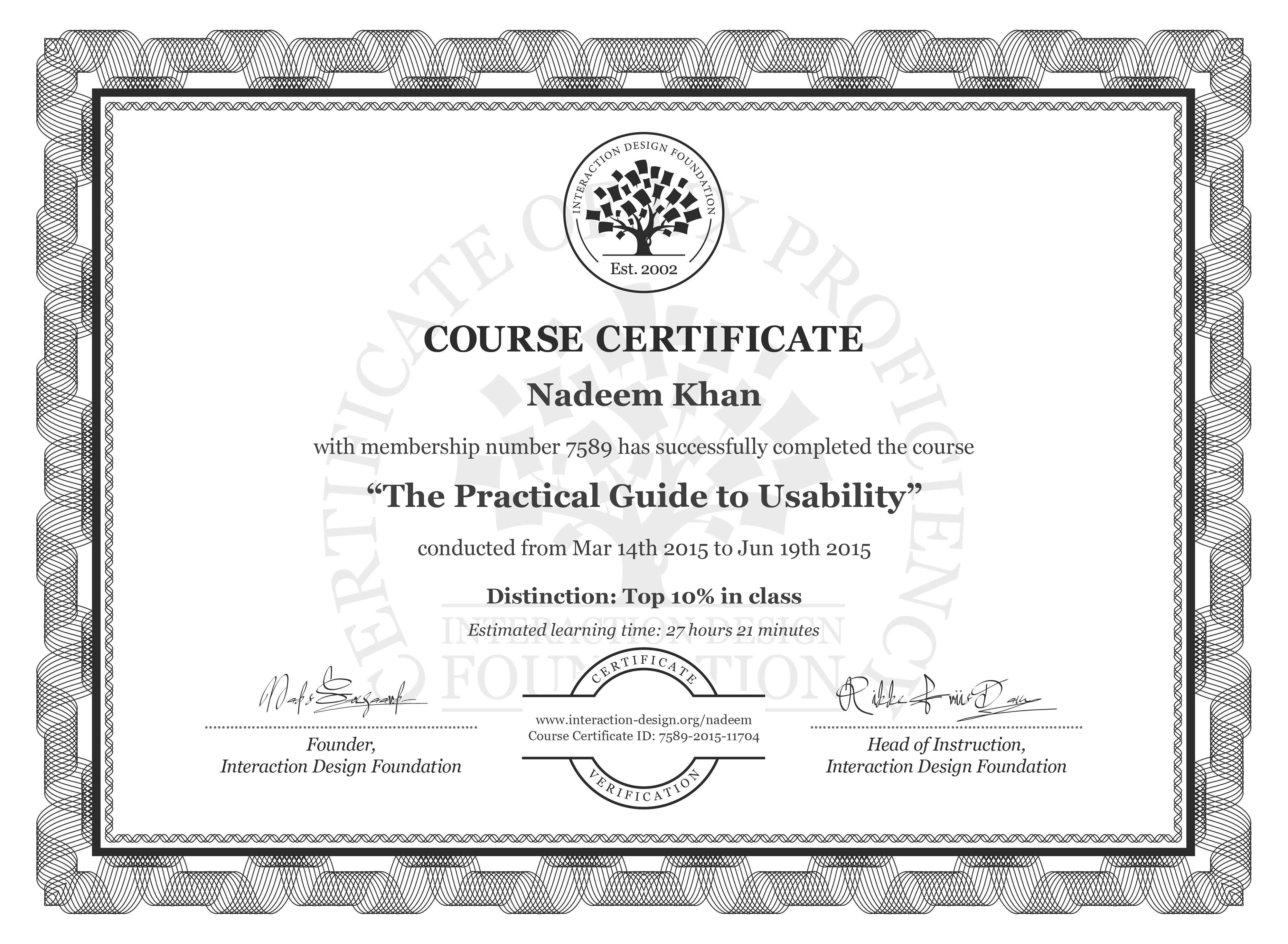 Nadeem Khan's Course Certificate: The Practical Guide to Usability