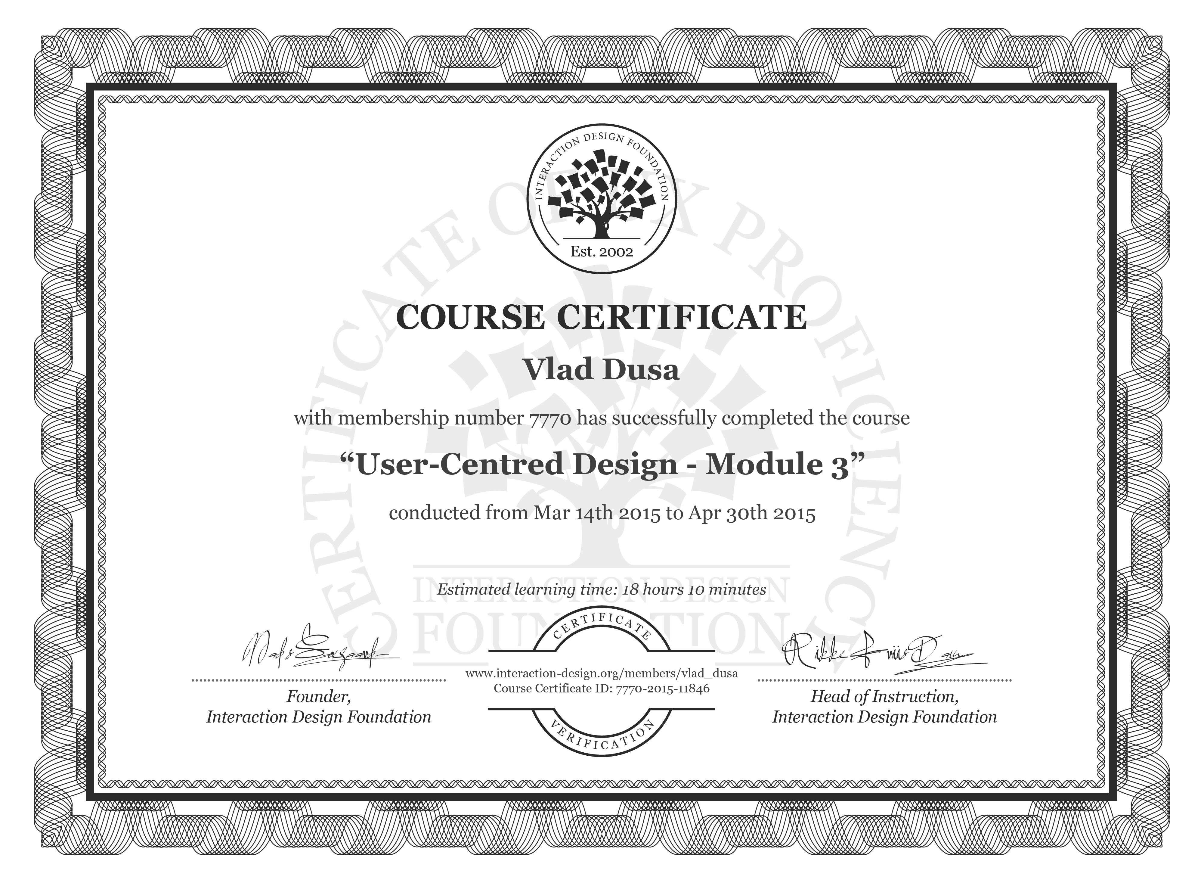 Vlad Dusa's Course Certificate: User-Centred Design - Module 3