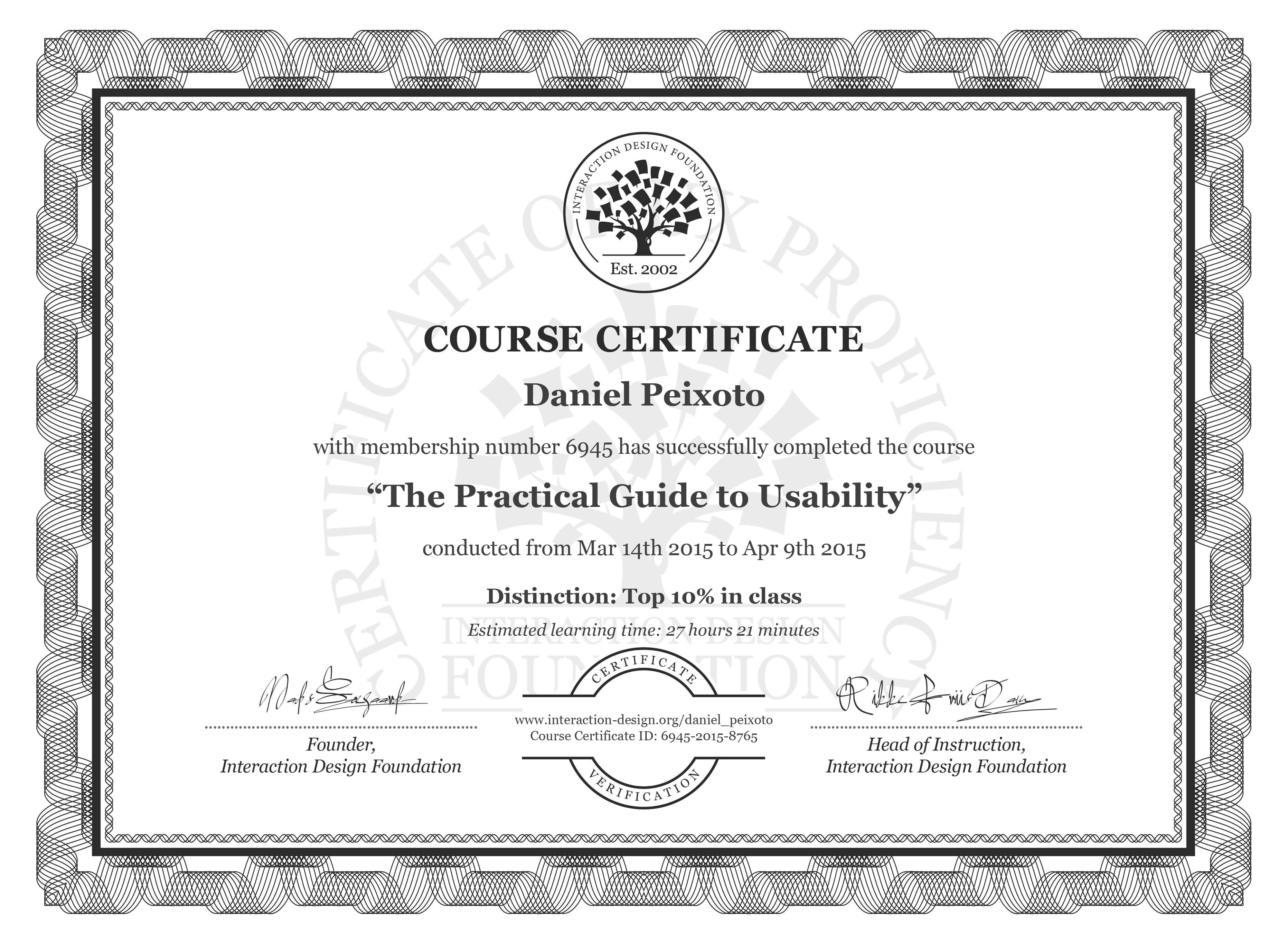 Daniel Peixoto's Course Certificate: The Practical Guide to Usability