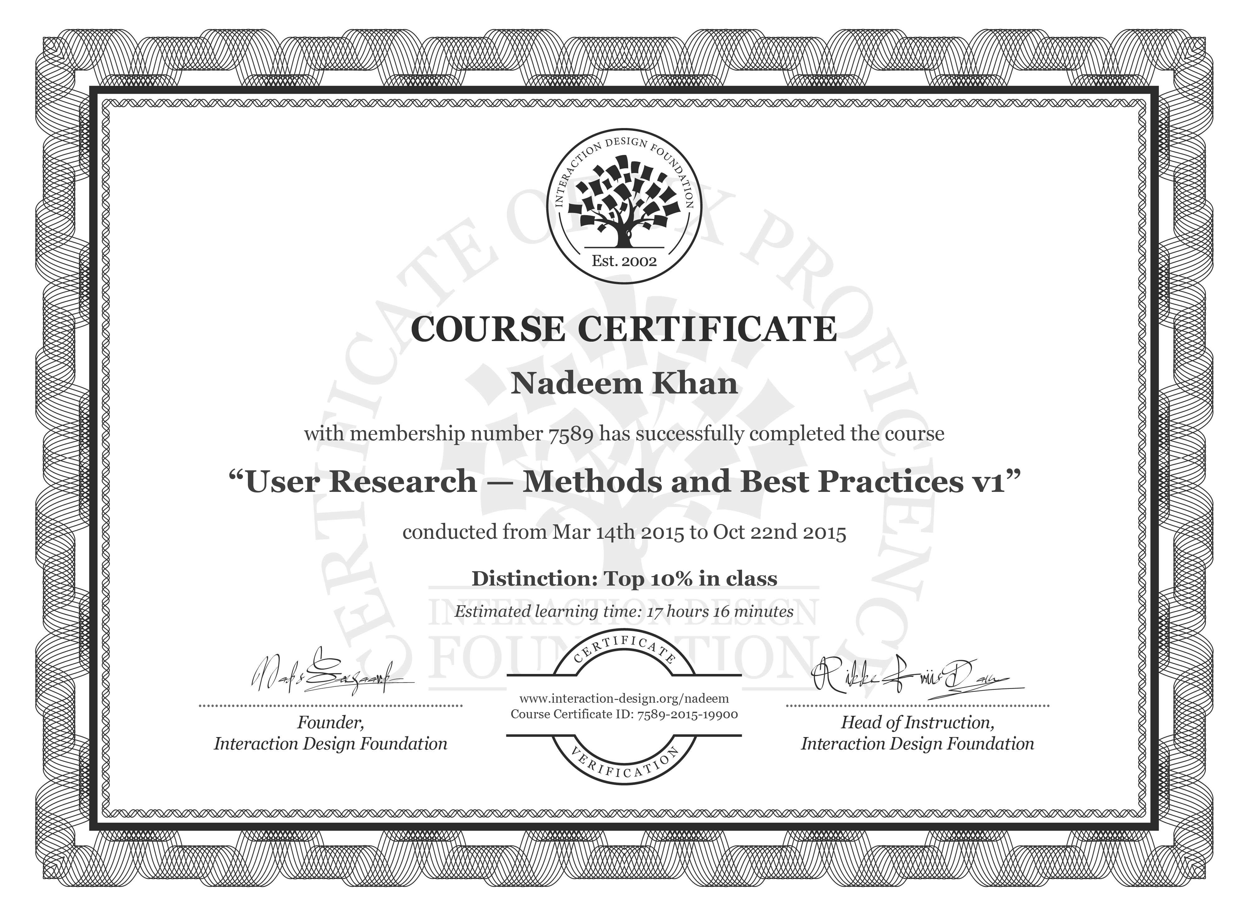 Nadeem Khan's Course Certificate: User Research — Methods and Best Practices