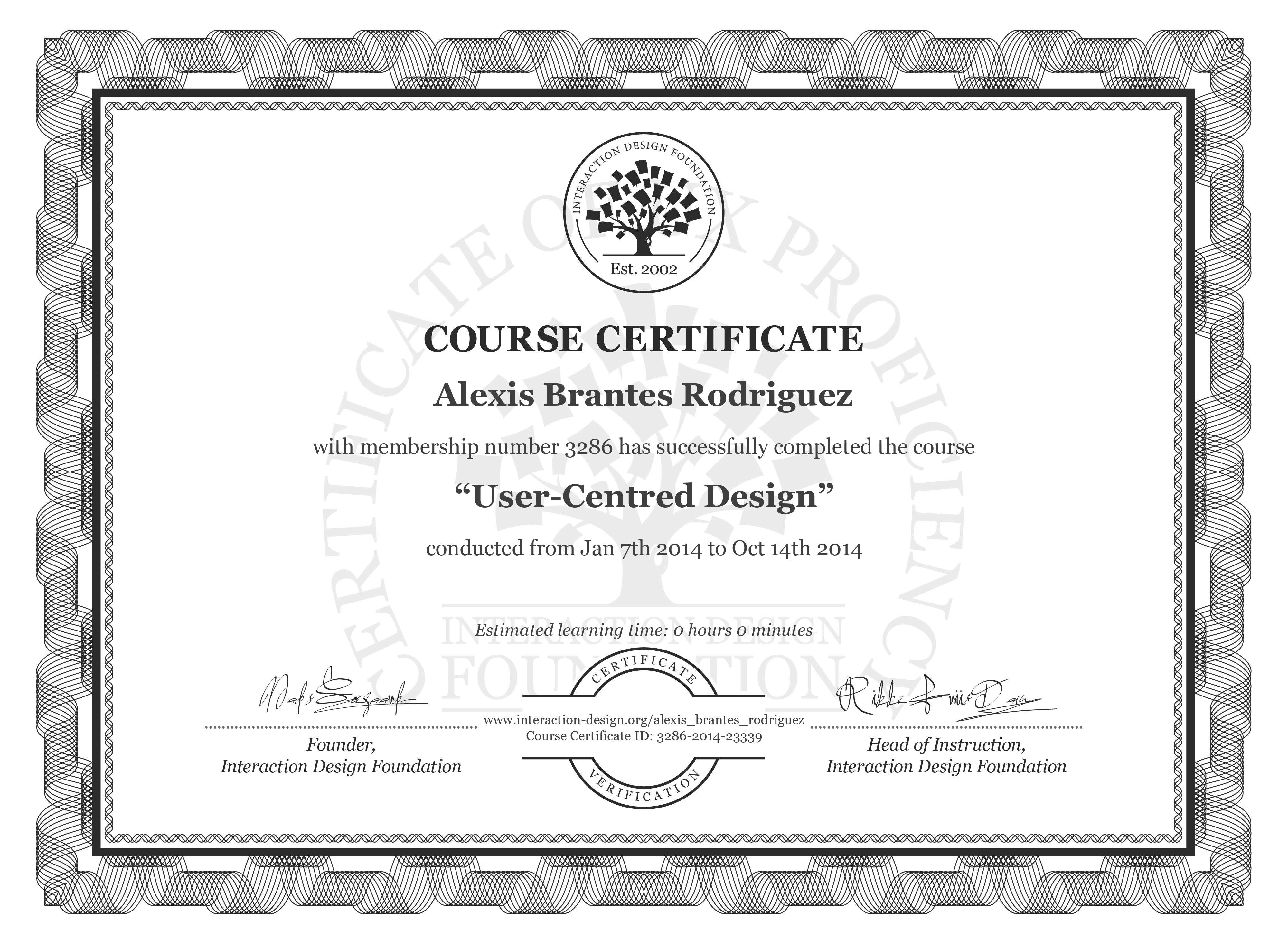 Alexis Brantes Rodriguez: Course Certificate - User-Centred Design
