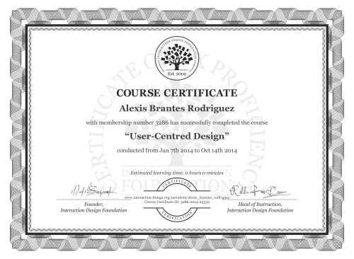 Alexis Brantes Rodriguez's Course Certificate: User-Centred Design