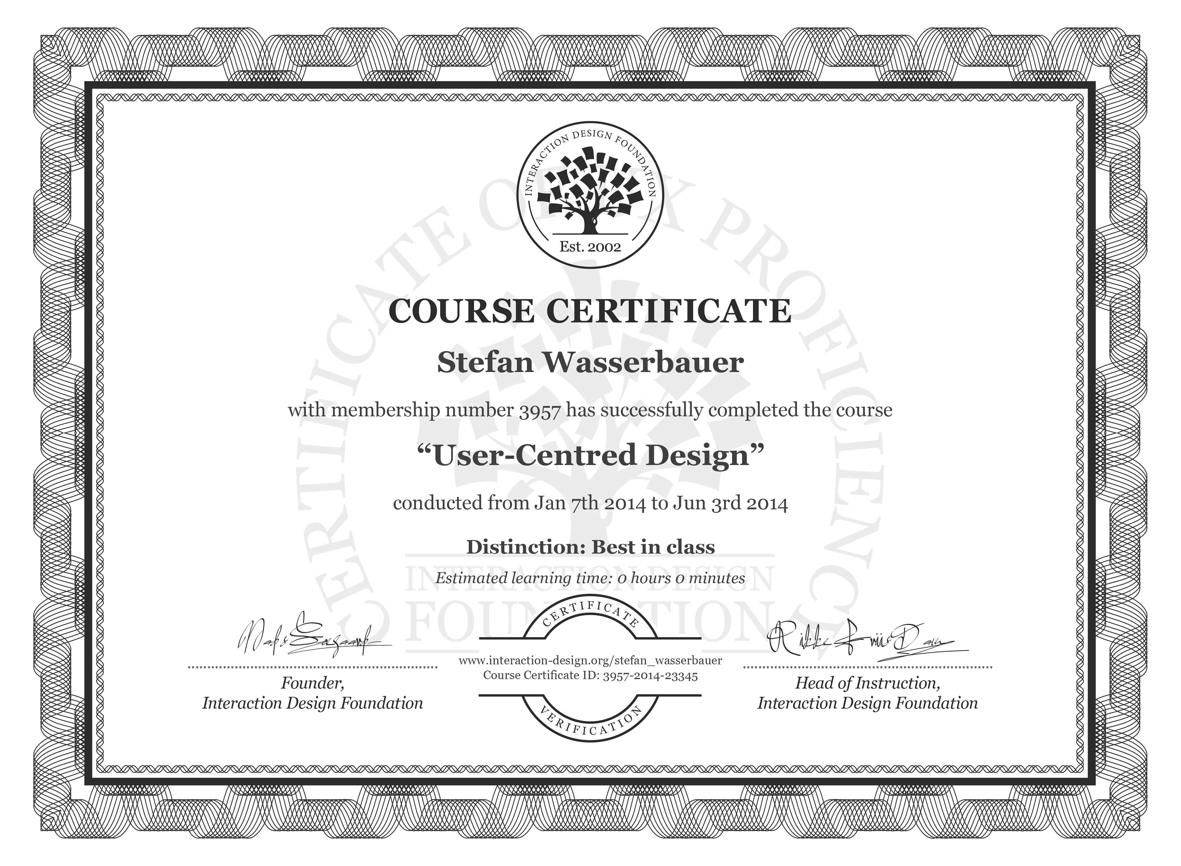 Stefan Wasserbauer's Course Certificate: User-Centred Design