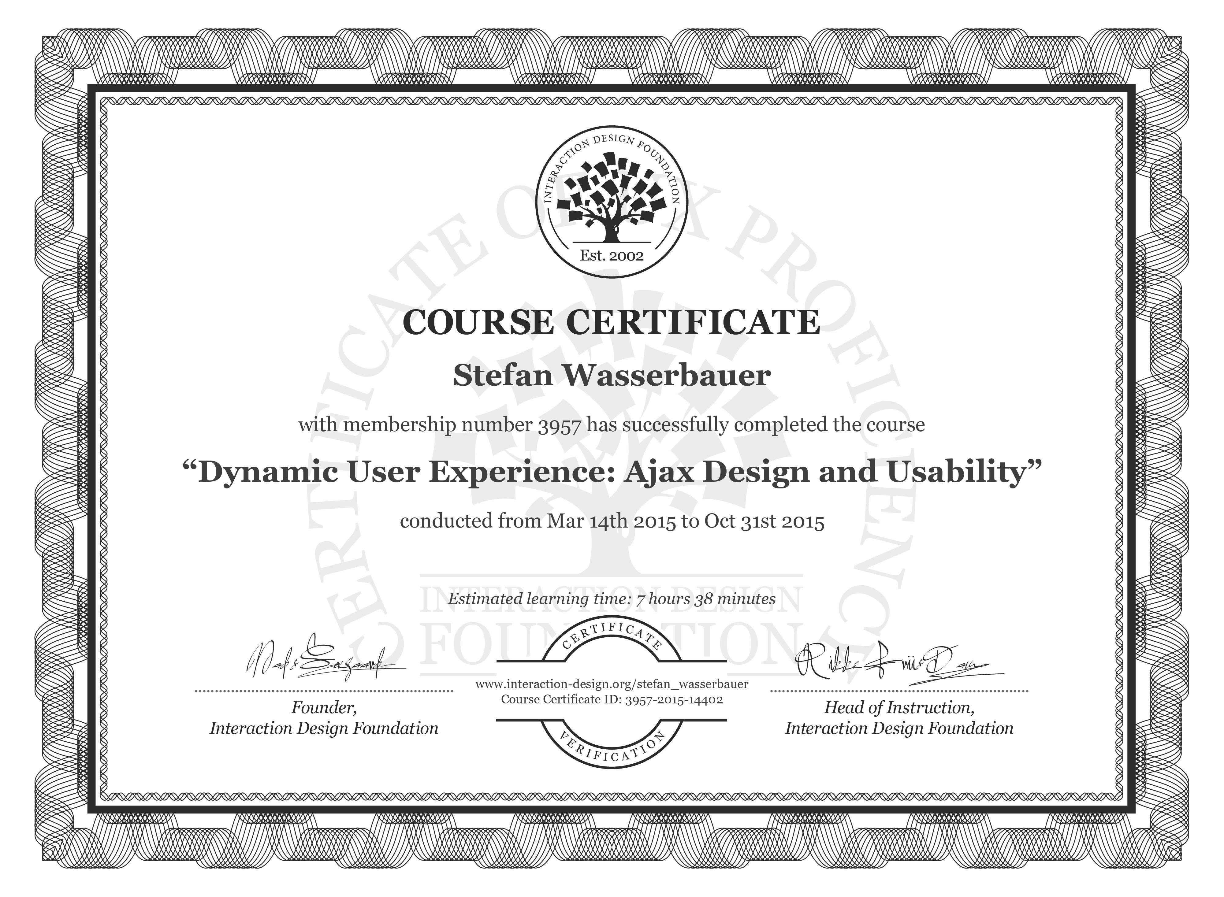 Stefan Wasserbauer's Course Certificate: Dynamic User Experience: Ajax Design and Usability