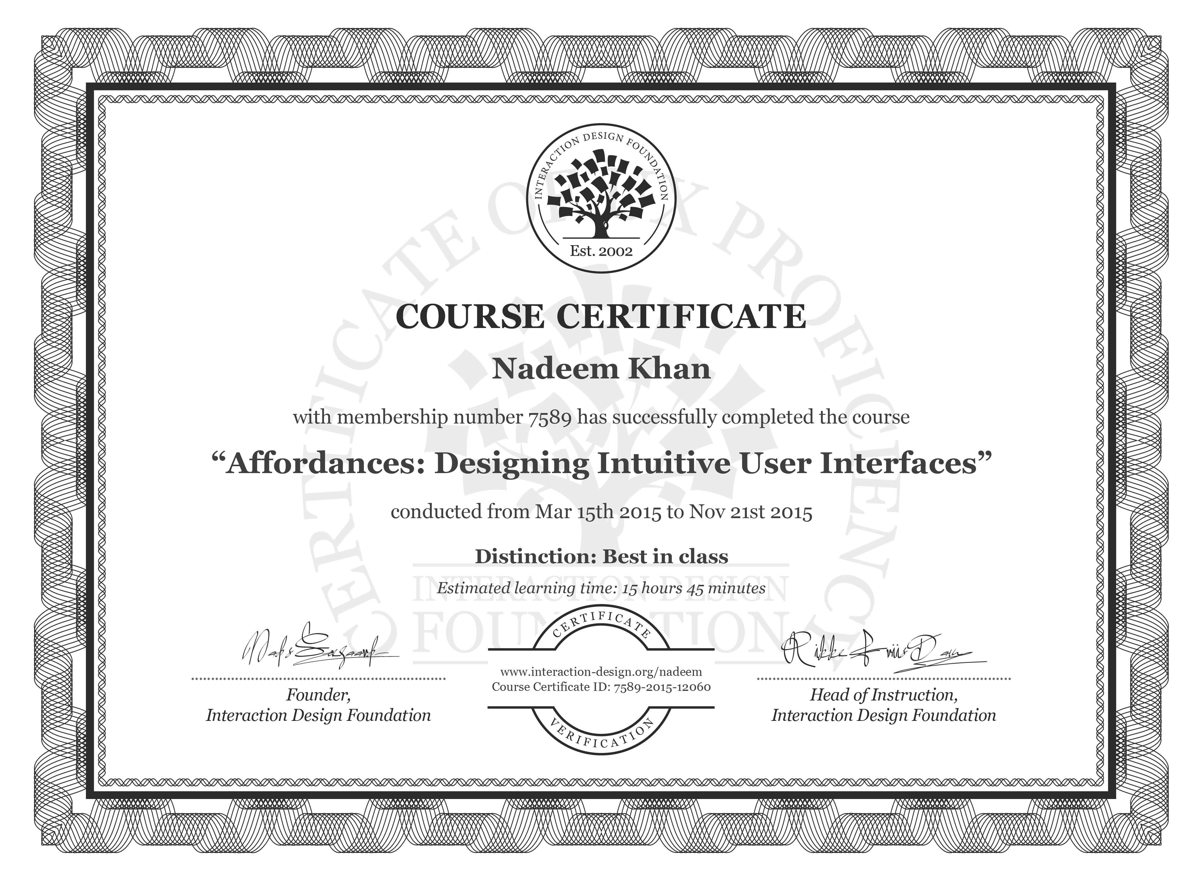 Nadeem Khan's Course Certificate: Affordances: Designing Intuitive User Interfaces