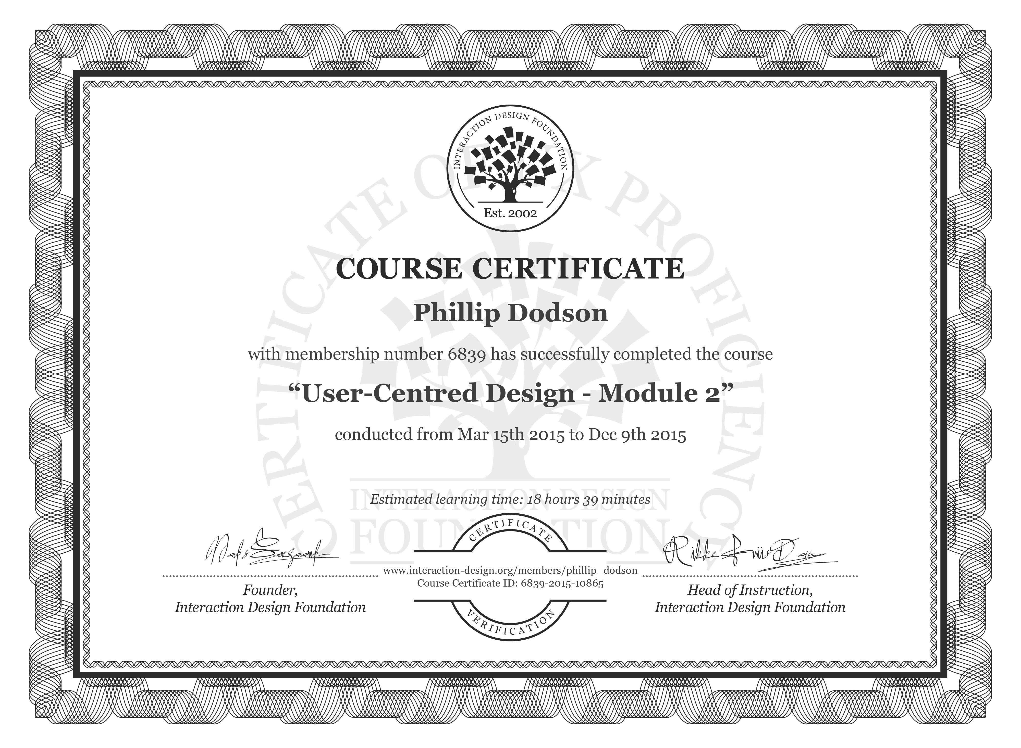 Phillip Dodson's Course Certificate: User-Centred Design - Module 2