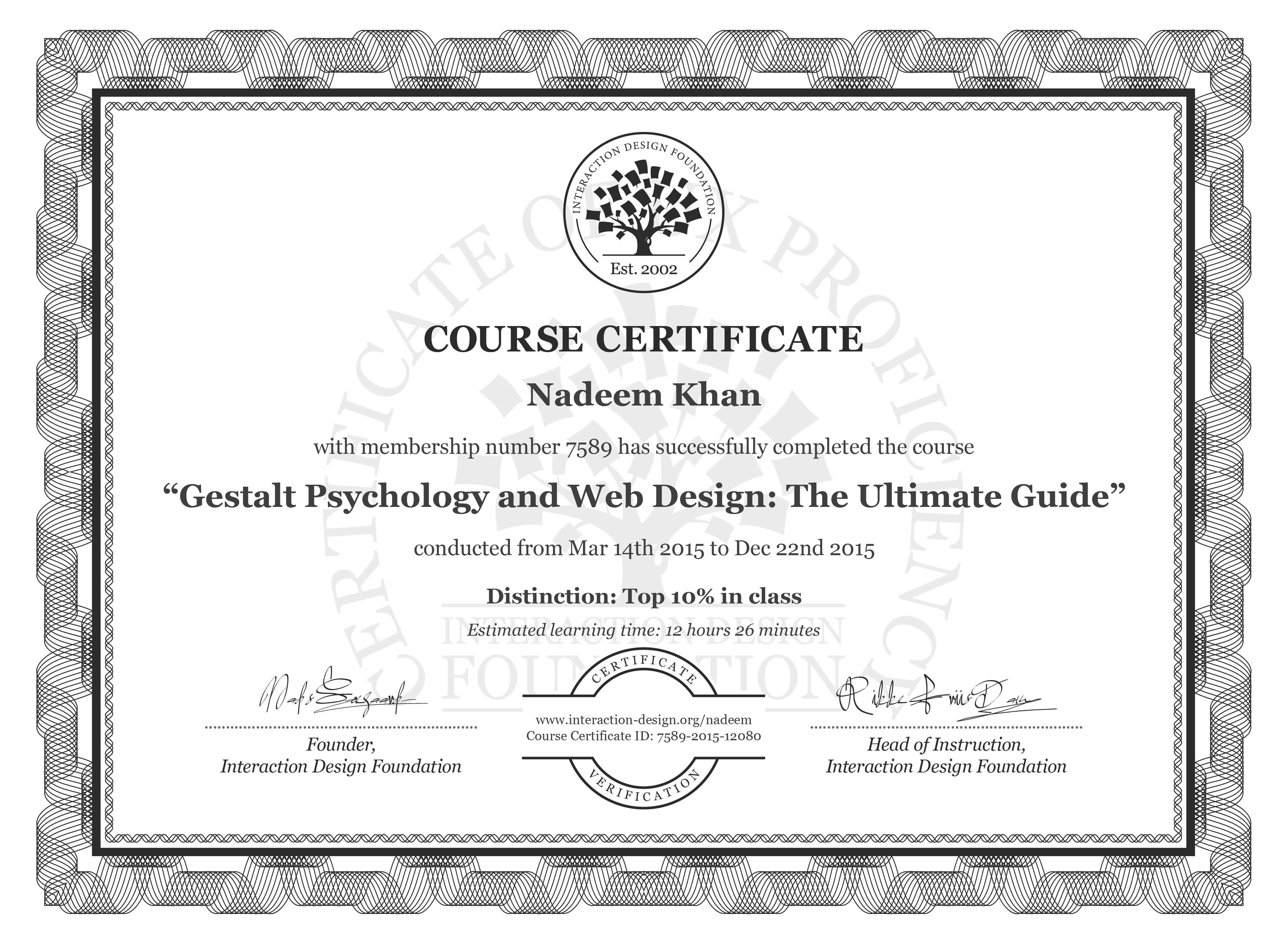 Nadeem Khan's Course Certificate: Gestalt Psychology and Web Design: The Ultimate Guide