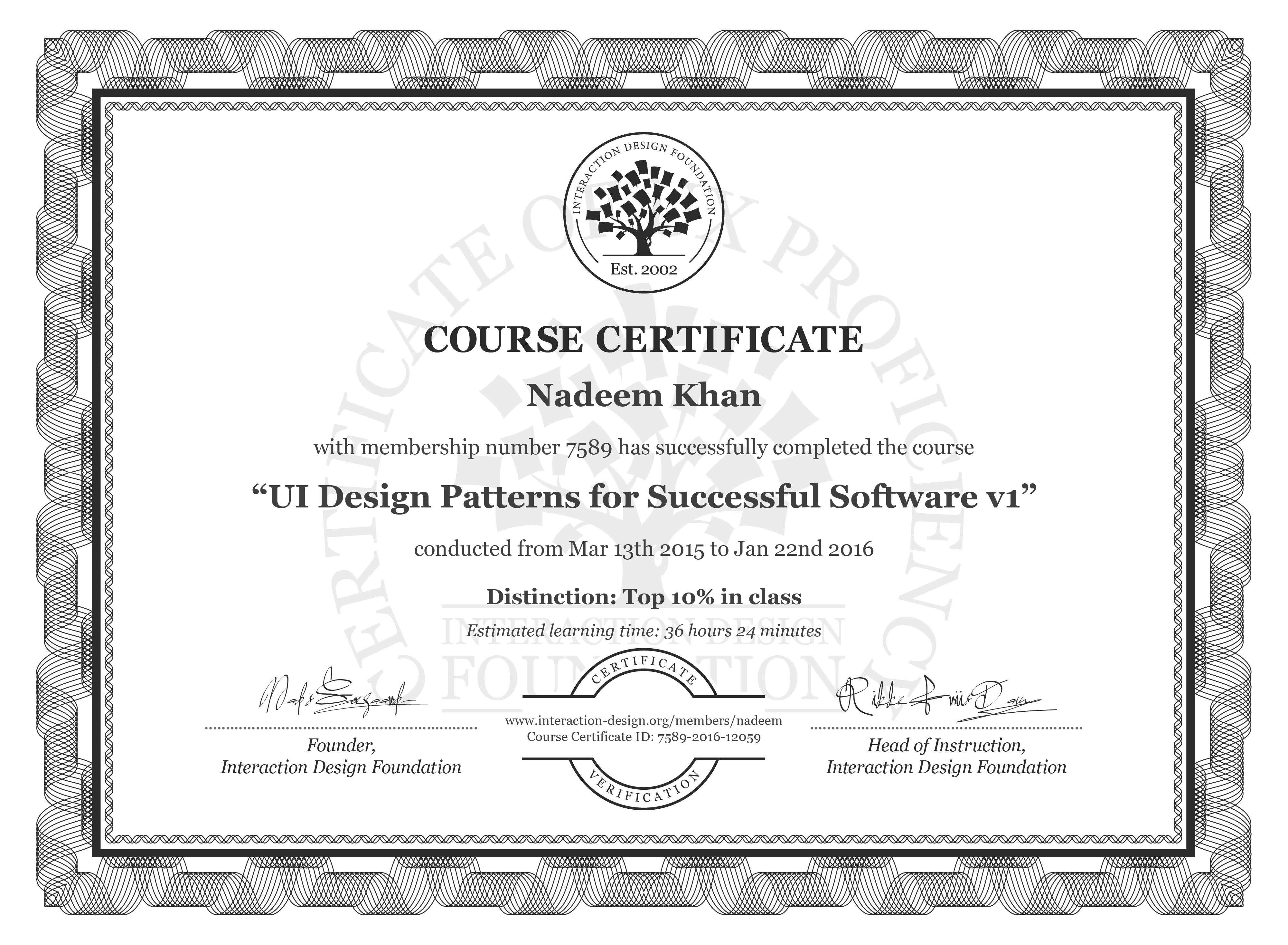 Nadeem Khan's Course Certificate: UI Design Patterns for Successful Software