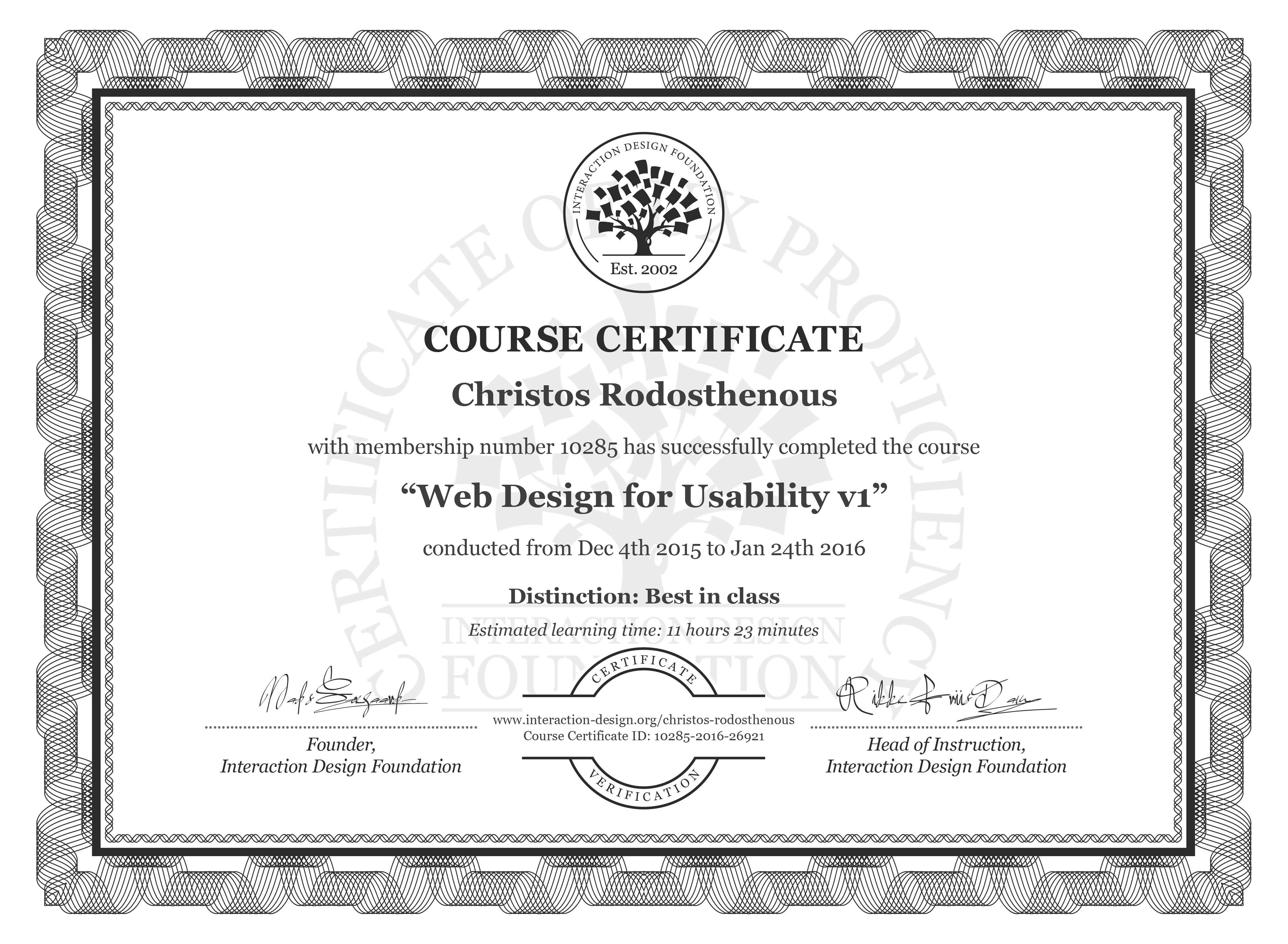 Christos Rodosthenous's Course Certificate: Web Design for Usability