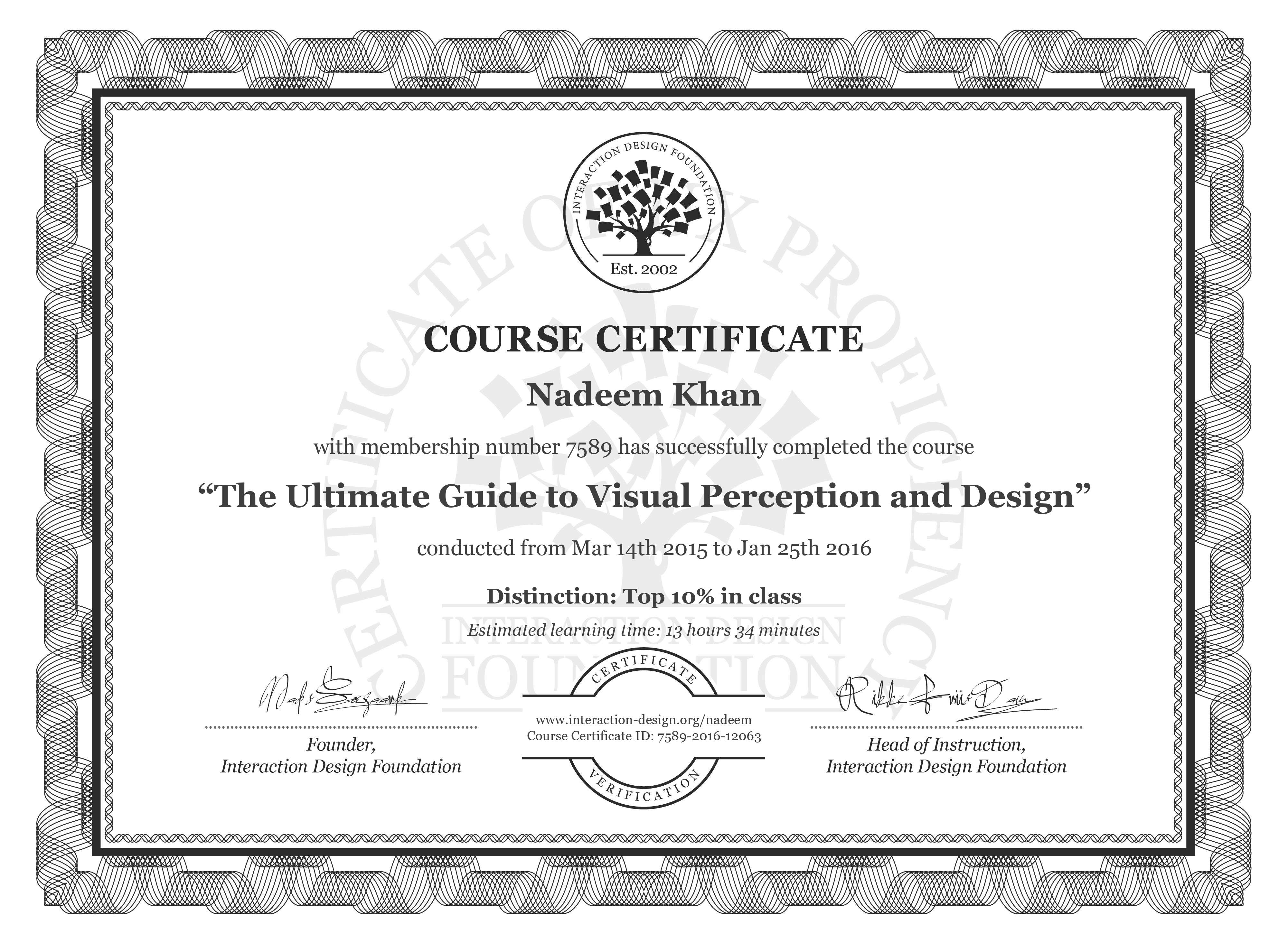 Nadeem Khan's Course Certificate: The Ultimate Guide to Visual Perception and Design