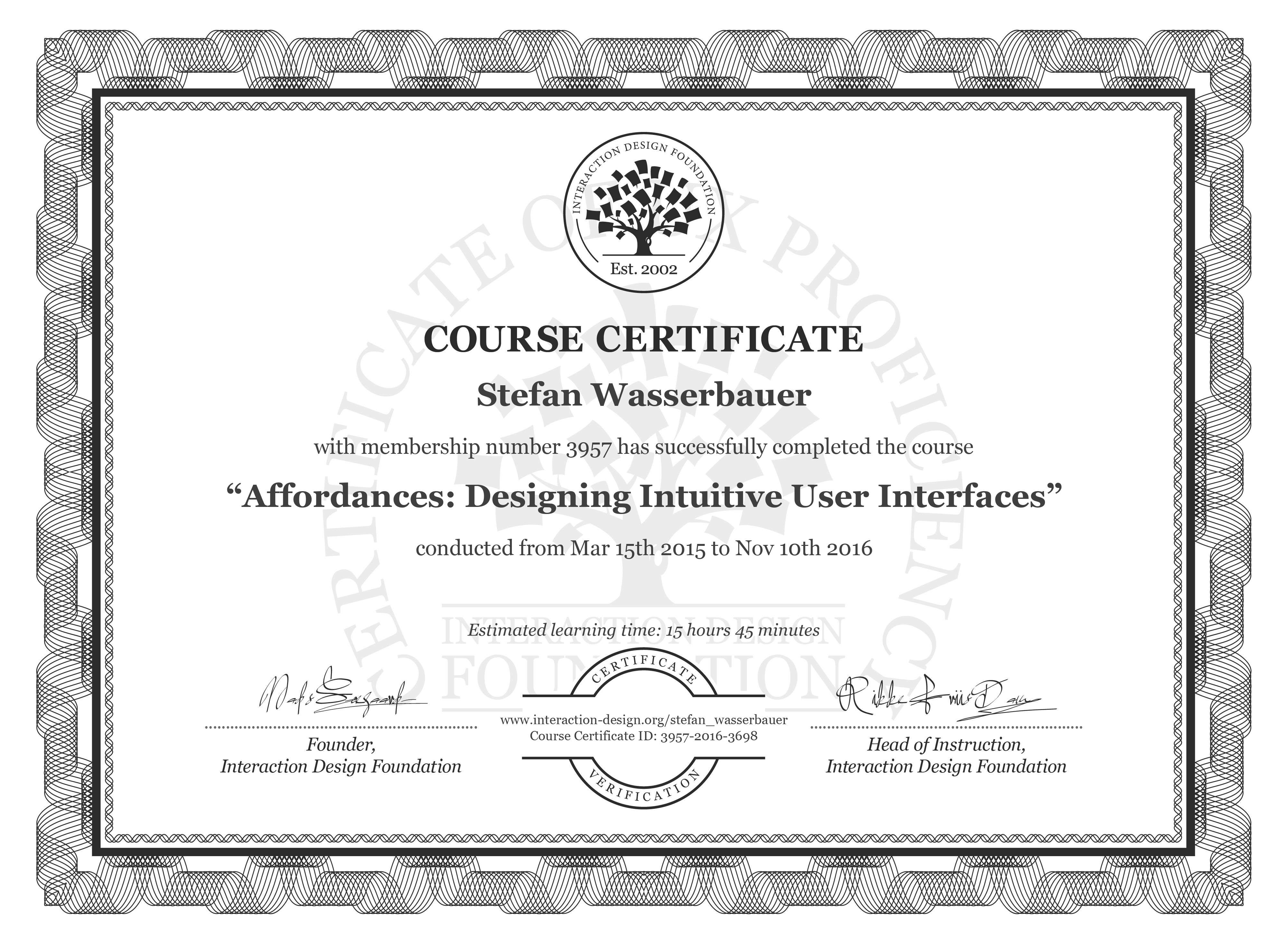 Stefan Wasserbauer's Course Certificate: Affordances: Designing Intuitive User Interfaces