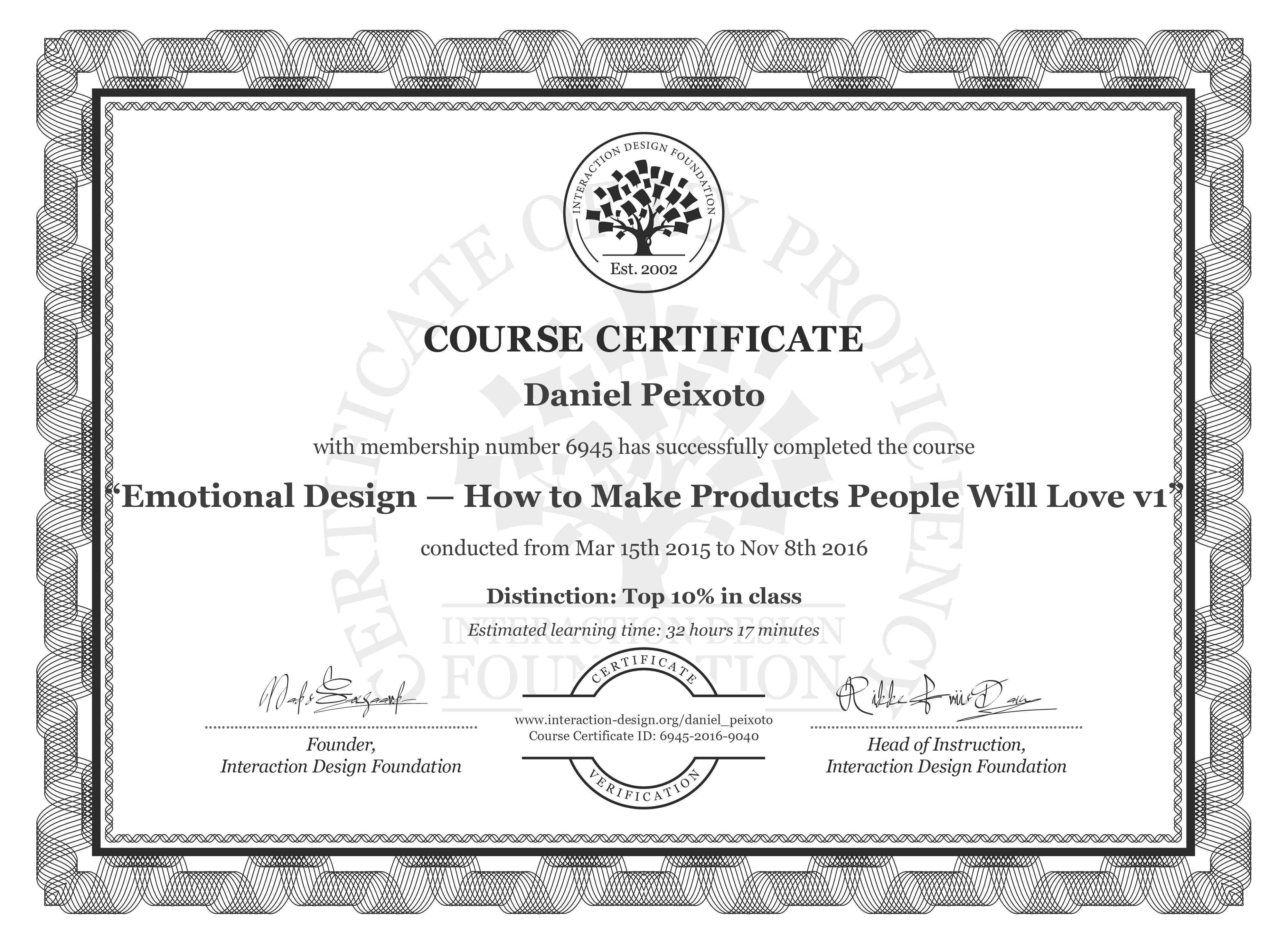 Daniel Peixoto's Course Certificate: Emotional Design: How to Make Products People Will Love