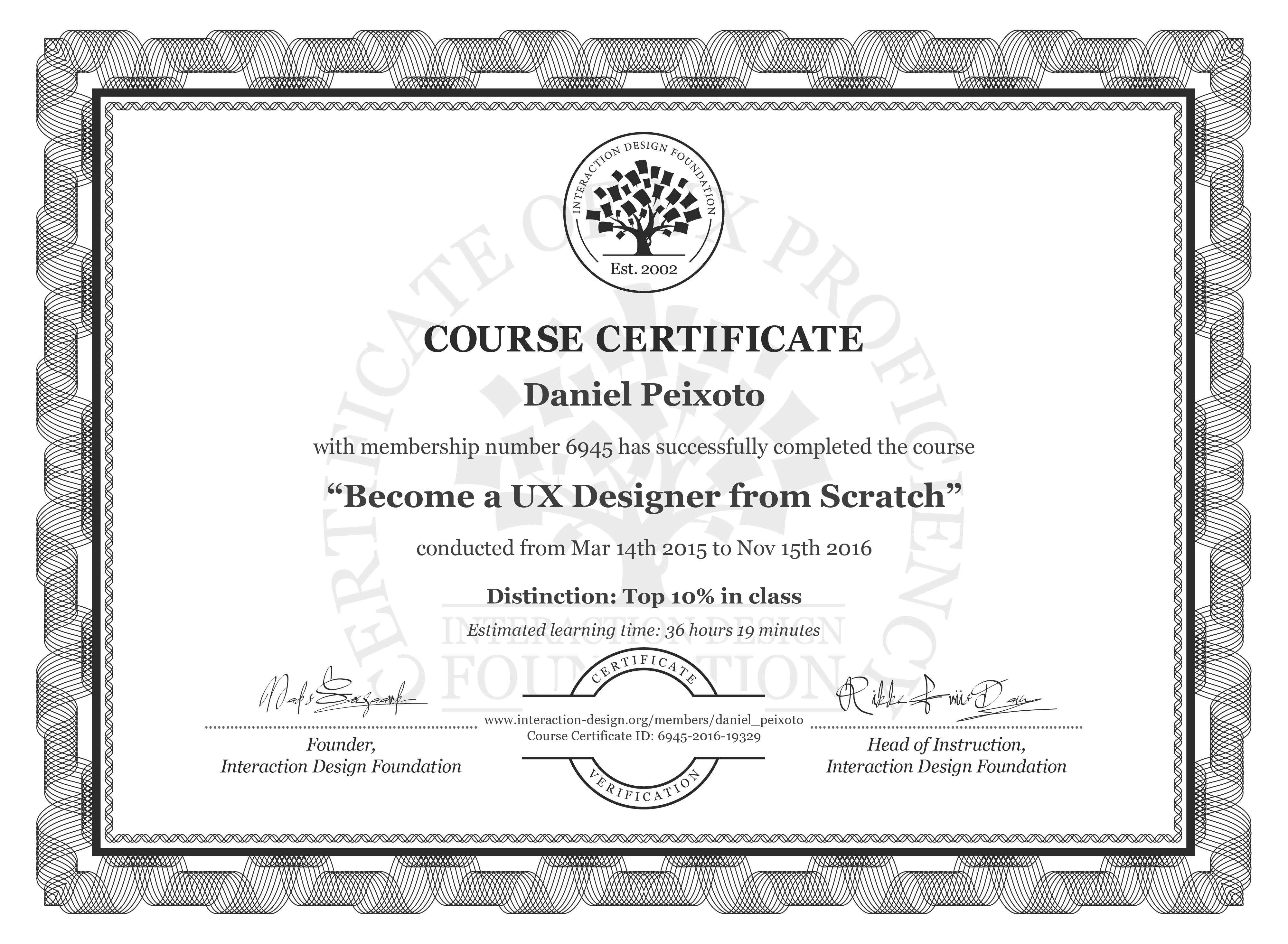 Daniel Peixoto's Course Certificate: Become a UX Designer from Scratch