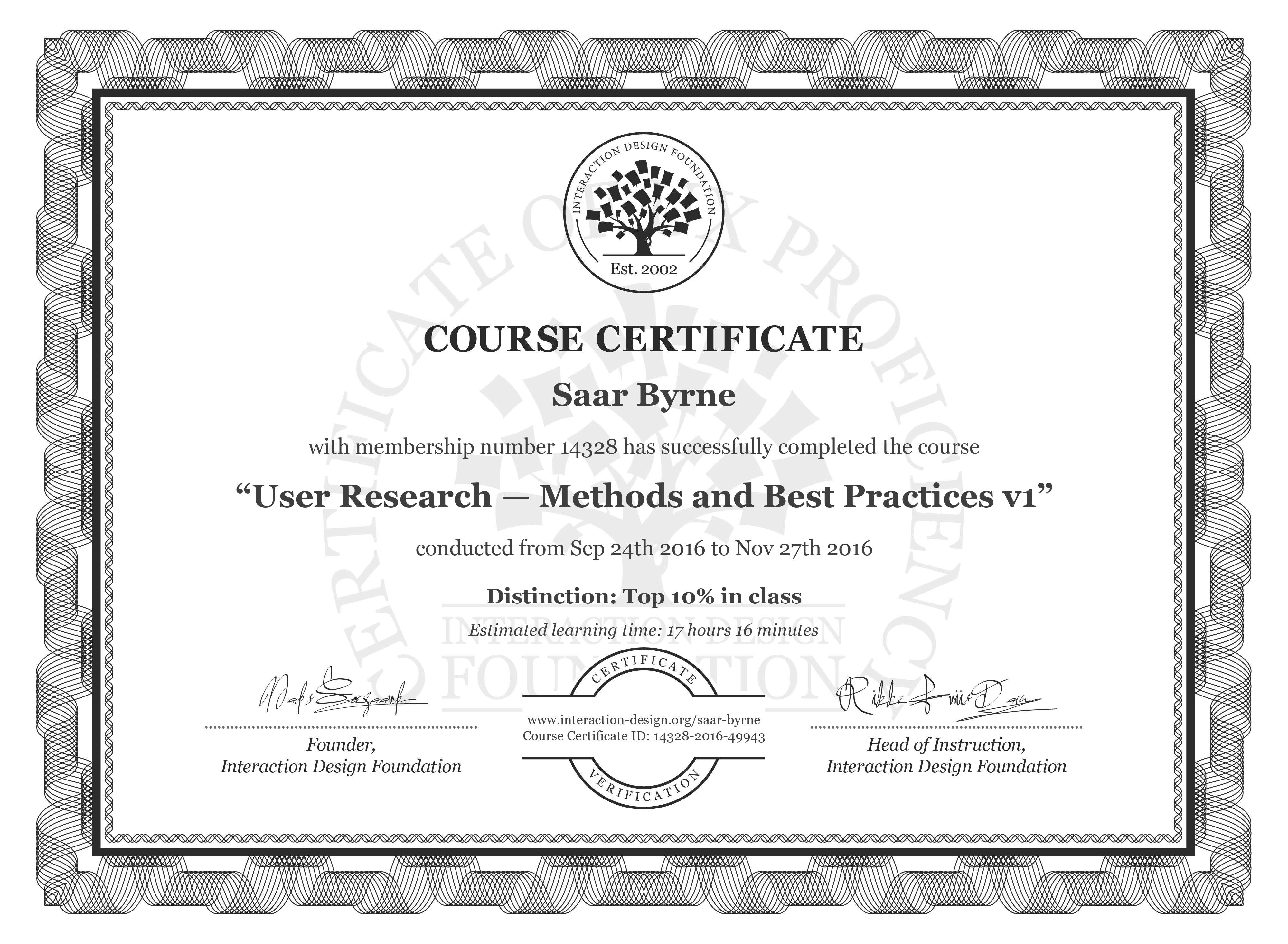 Saar Byrne's Course Certificate: User Research — Methods and Best Practices