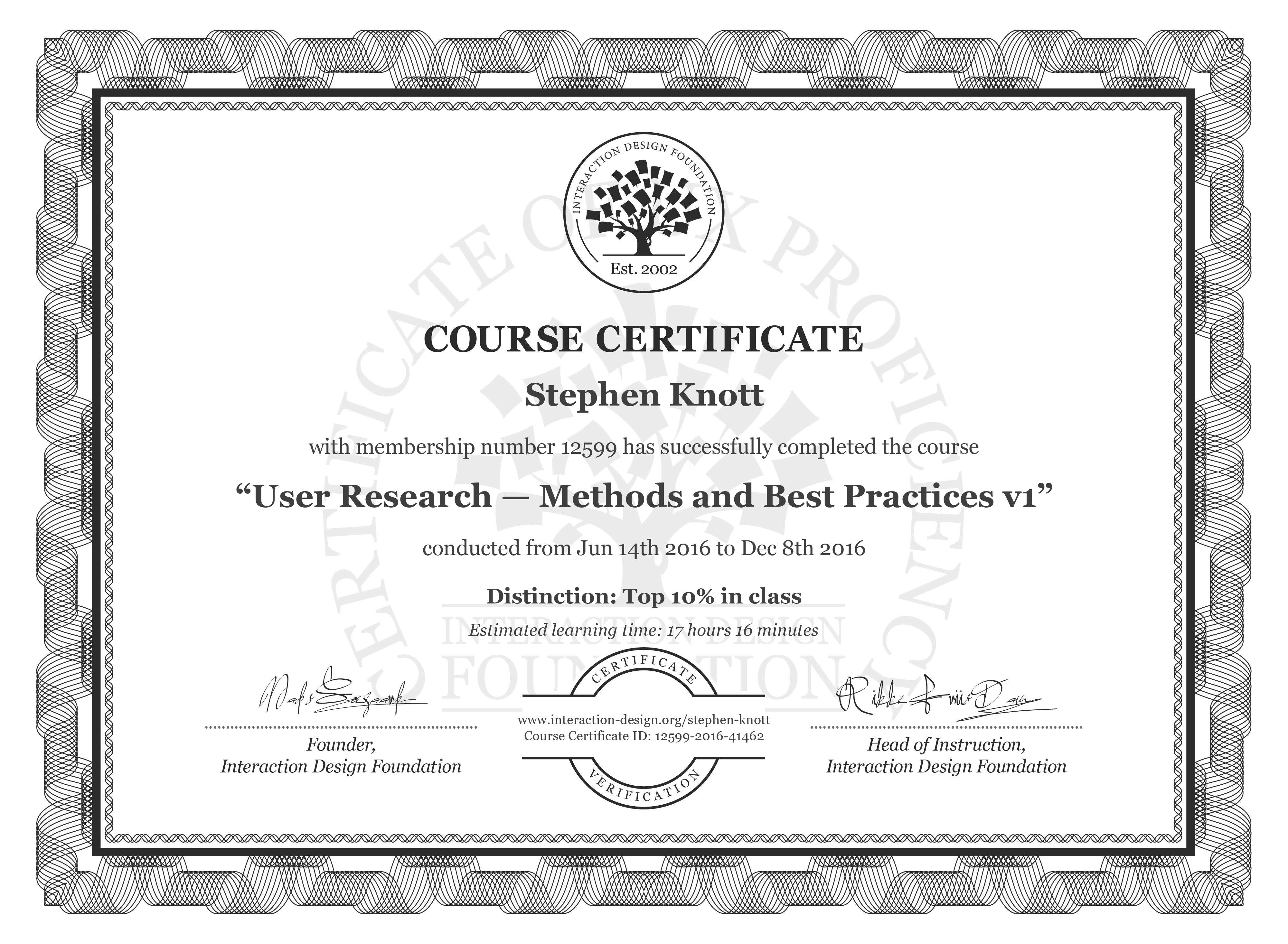 Stephen Knott: Course Certificate - User Research — Methods and Best Practices