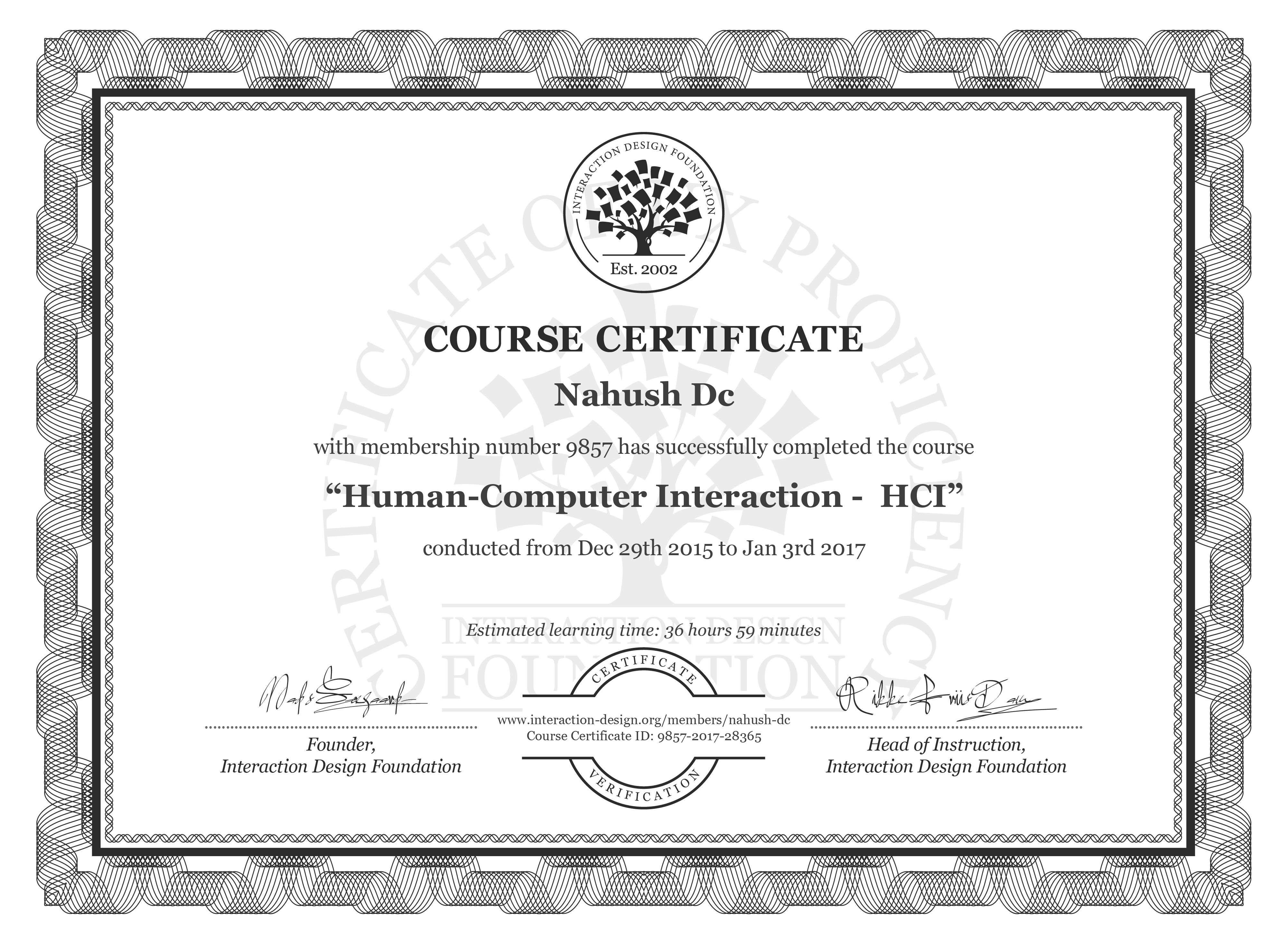 Nahush Dc: Course Certificate - Human-Computer Interaction -  HCI