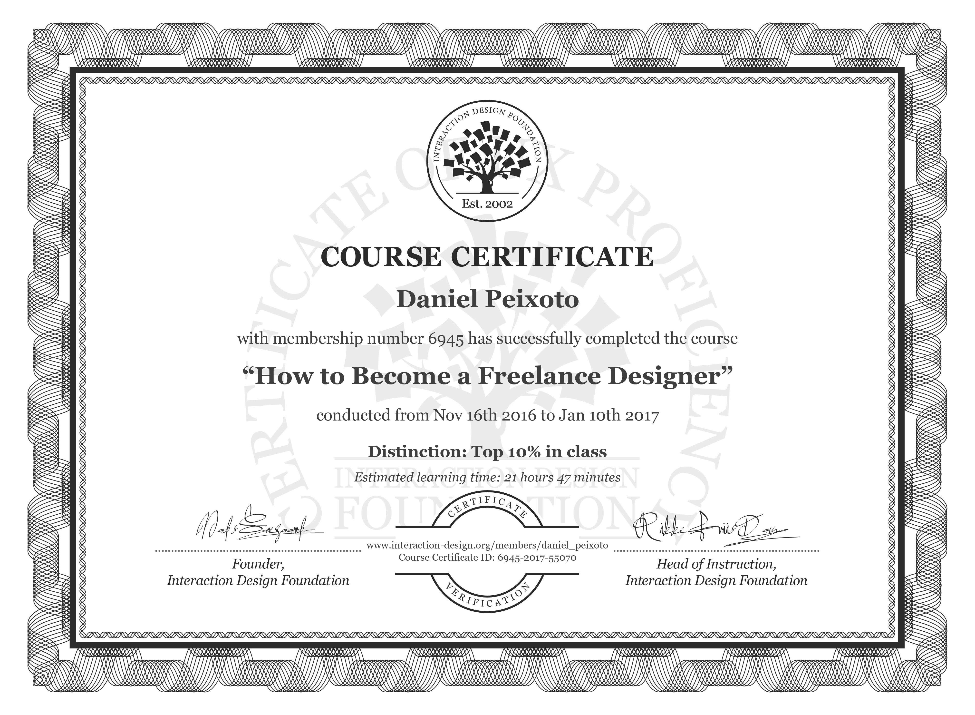 Daniel Peixoto: Course Certificate - How to Become a Freelance Designer