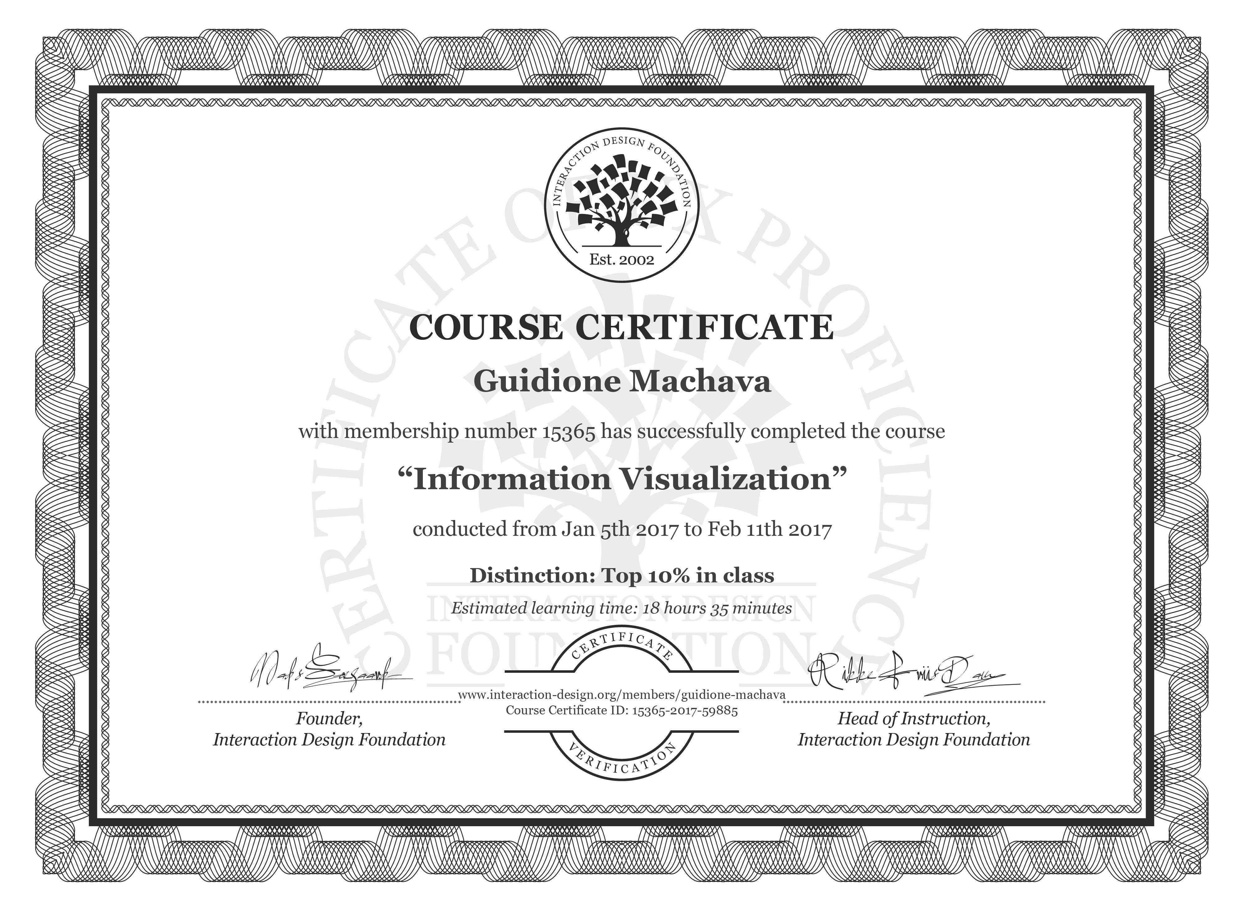 Guidione Machava's Course Certificate: Information Visualization