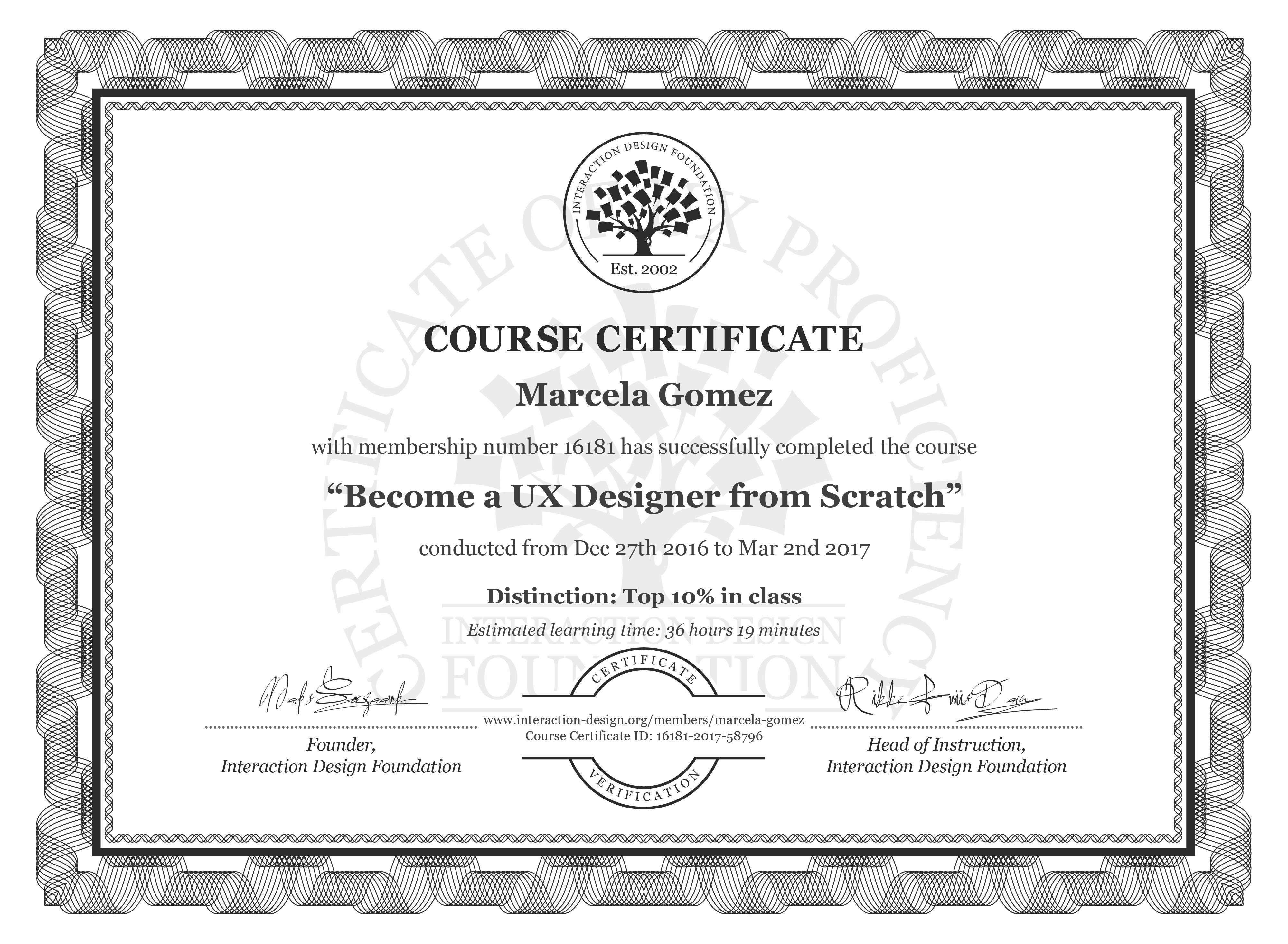 Marcela Gómez: Course Certificate - Become a UX Designer from Scratch