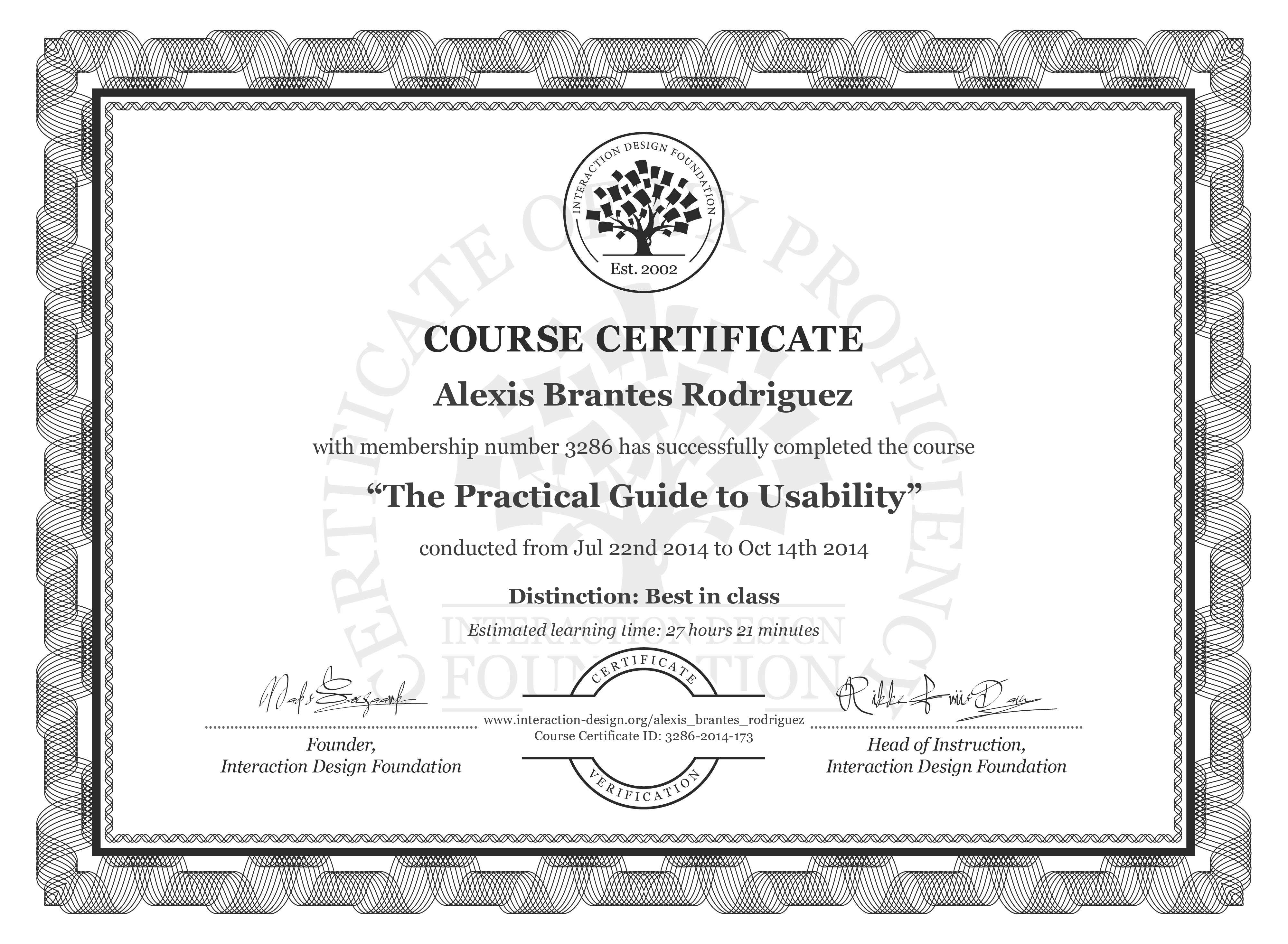 Alexis Brantes Rodriguez: Course Certificate - The Practical Guide to Usability