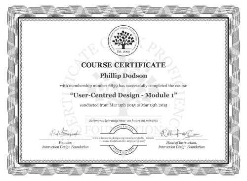 Phillip Dodson's Course Certificate: User-Centred Design - Module 1