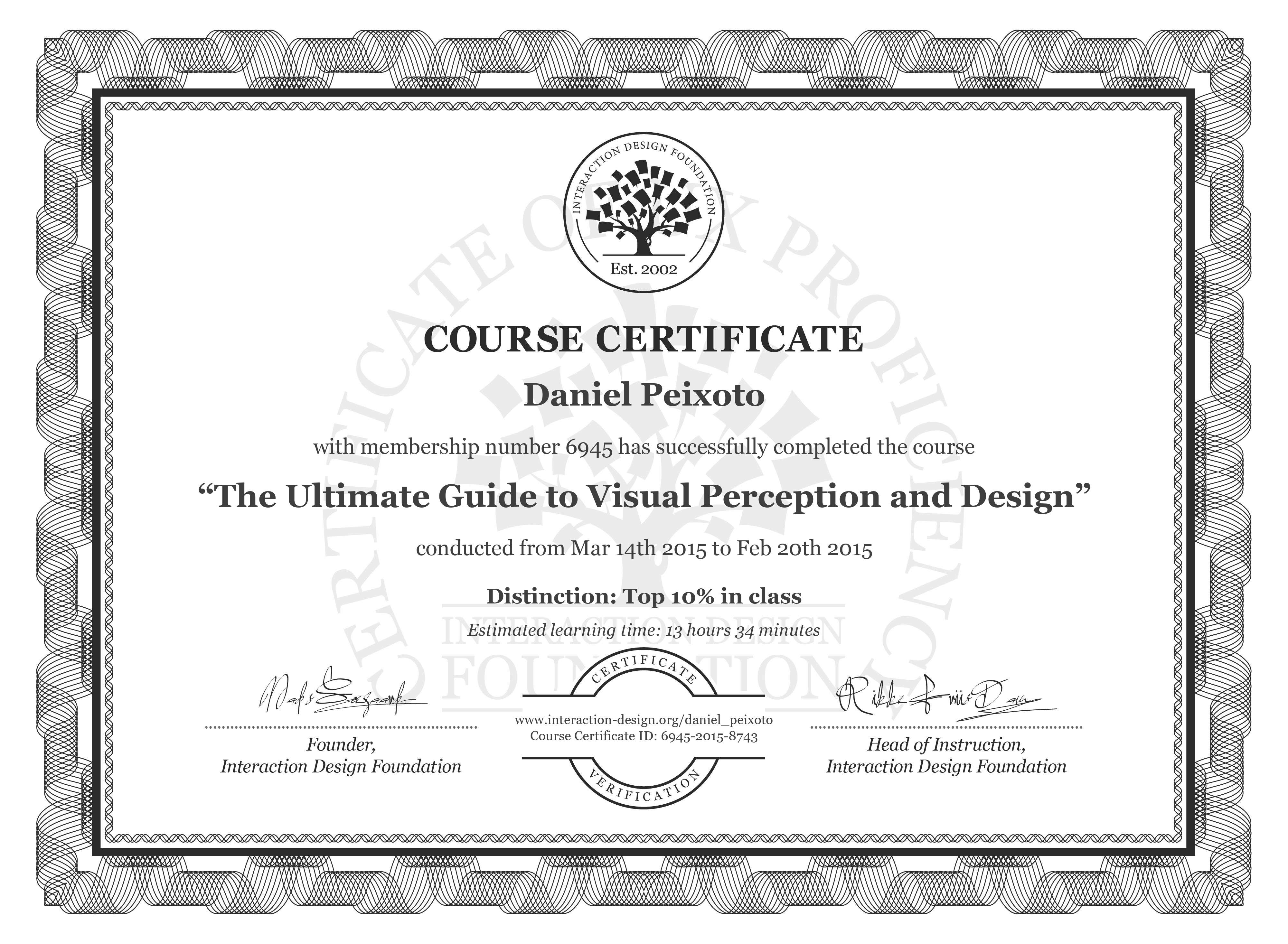Daniel Peixoto: Course Certificate - The Ultimate Guide to Visual Perception and Design