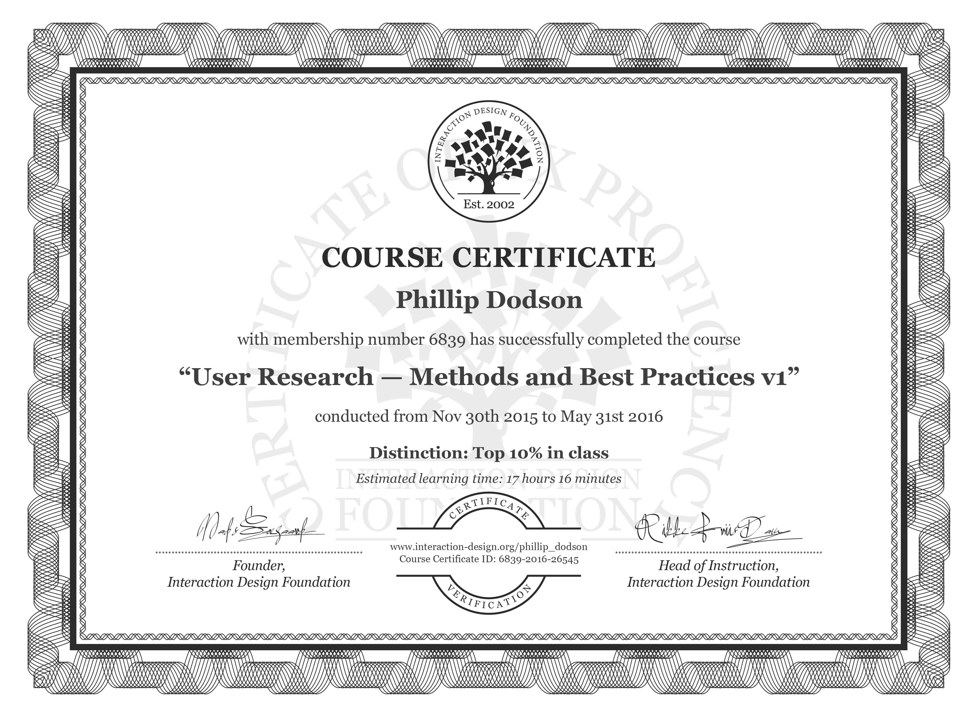 Phillip Dodson's Course Certificate: User Research — Methods and Best Practices